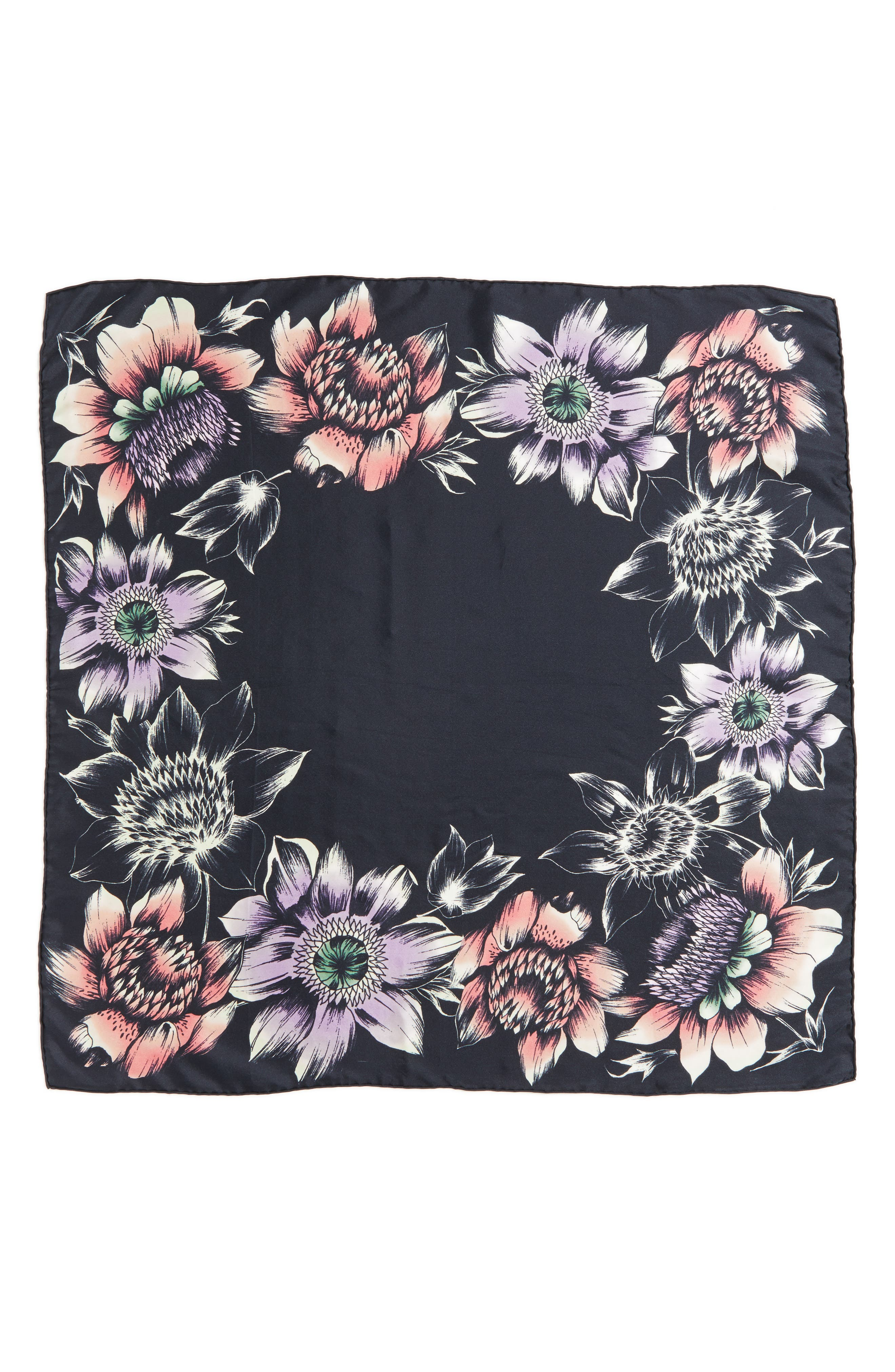 Floral Square Silk Scarf,                             Alternate thumbnail 2, color,                             Deep Eggplant