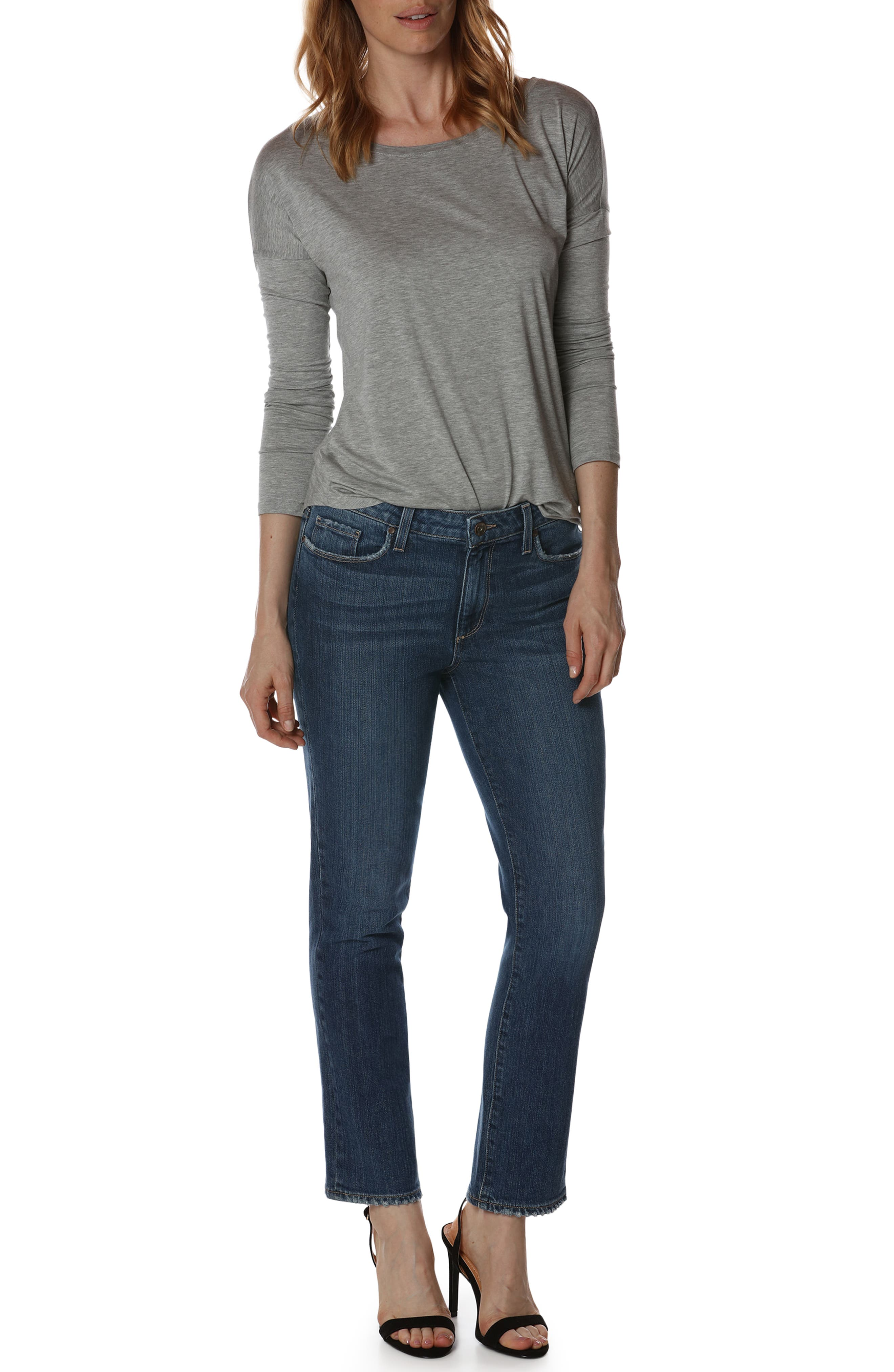 Jacqueline High Waist Ankle Straight Leg Jeans,                             Alternate thumbnail 2, color,                             Good Life Embroidery