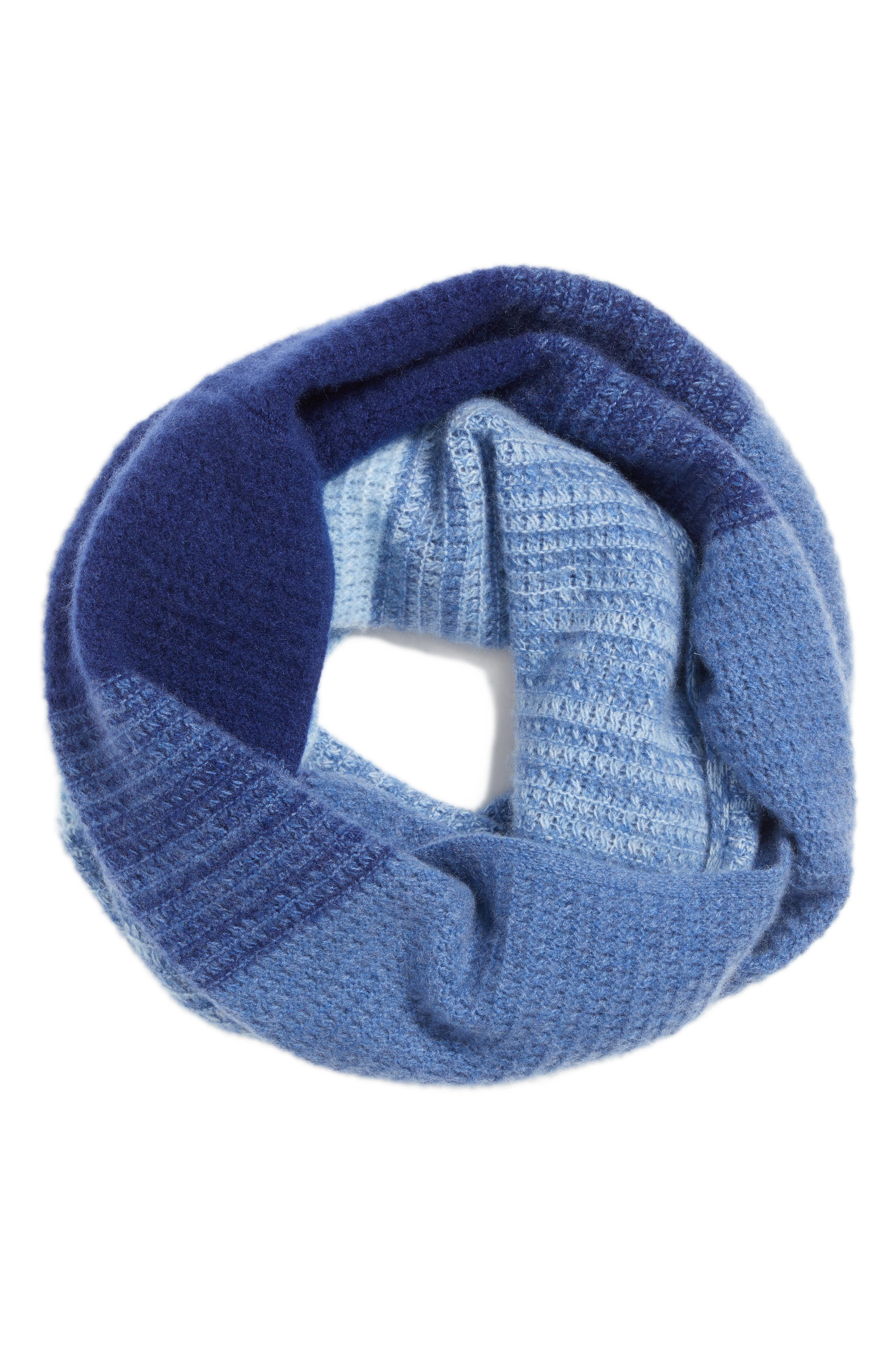 Ombré Cashmere Infinity Scarf,                             Alternate thumbnail 3, color,                             Navy Combo