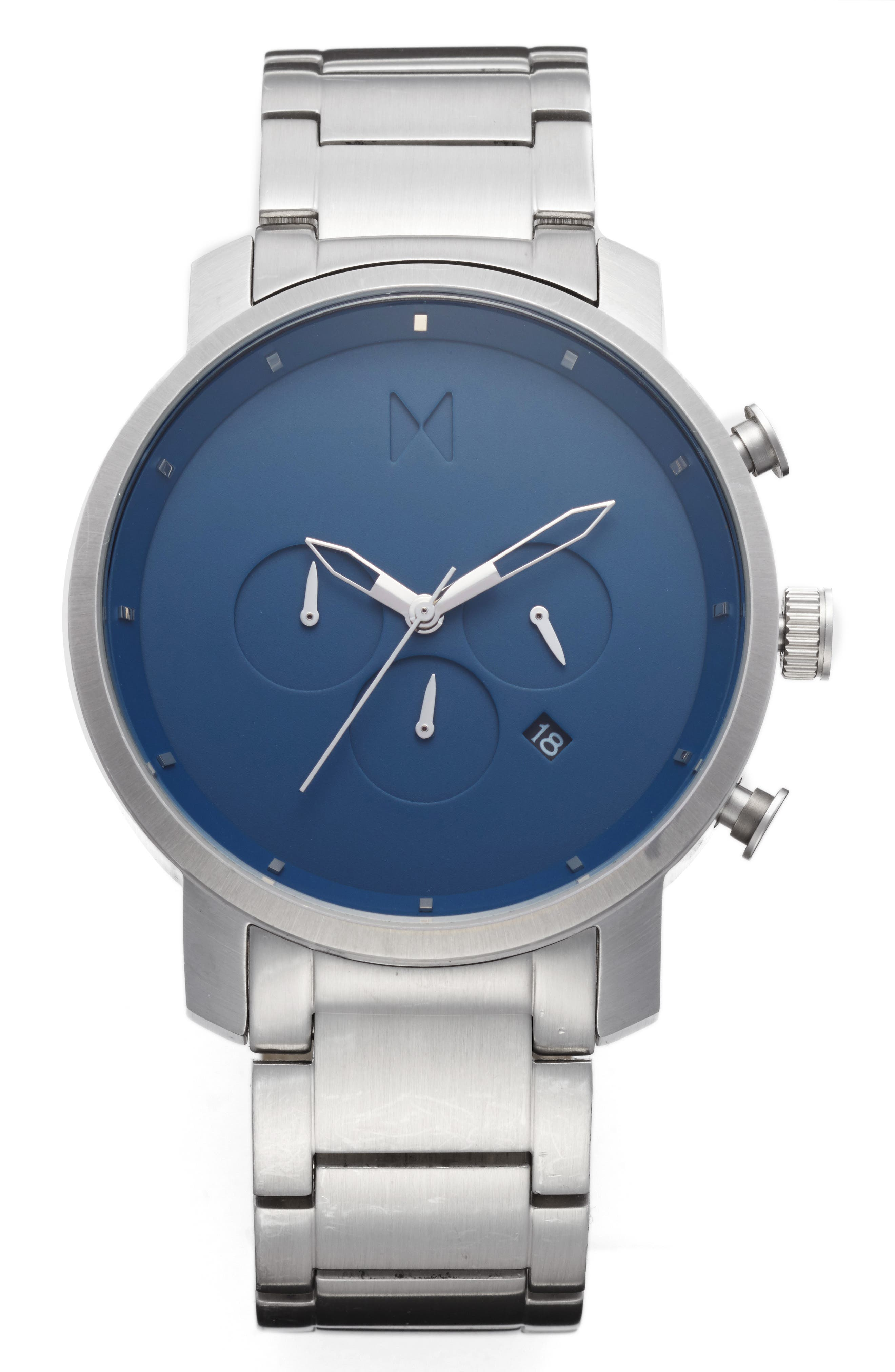 Chronograph Bracelet Watch, 45mm,                         Main,                         color, Blue/ Stainless Steel