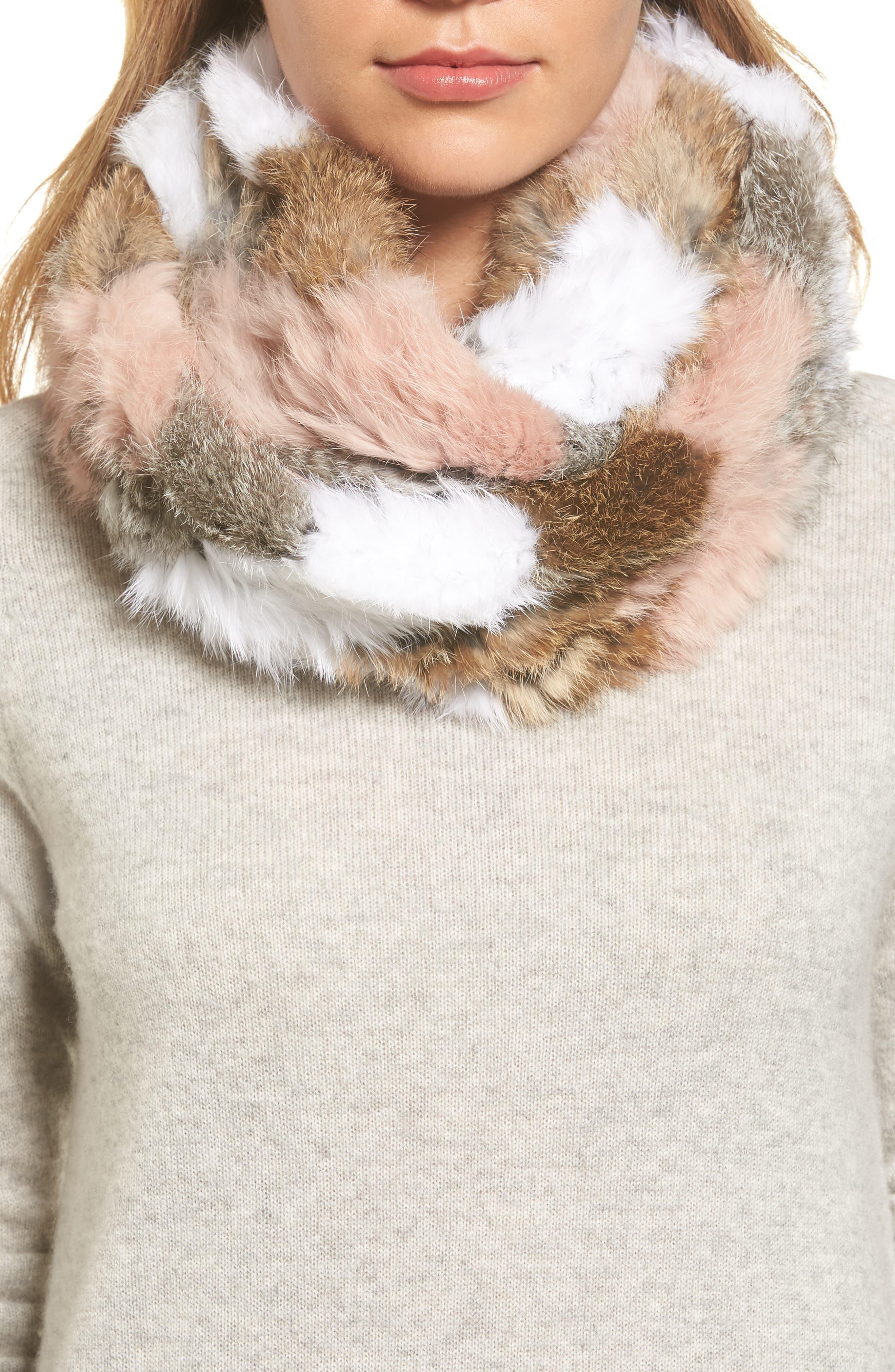 Jocelyn Chevron Genuine Rabbit Fur Infinity Scarf