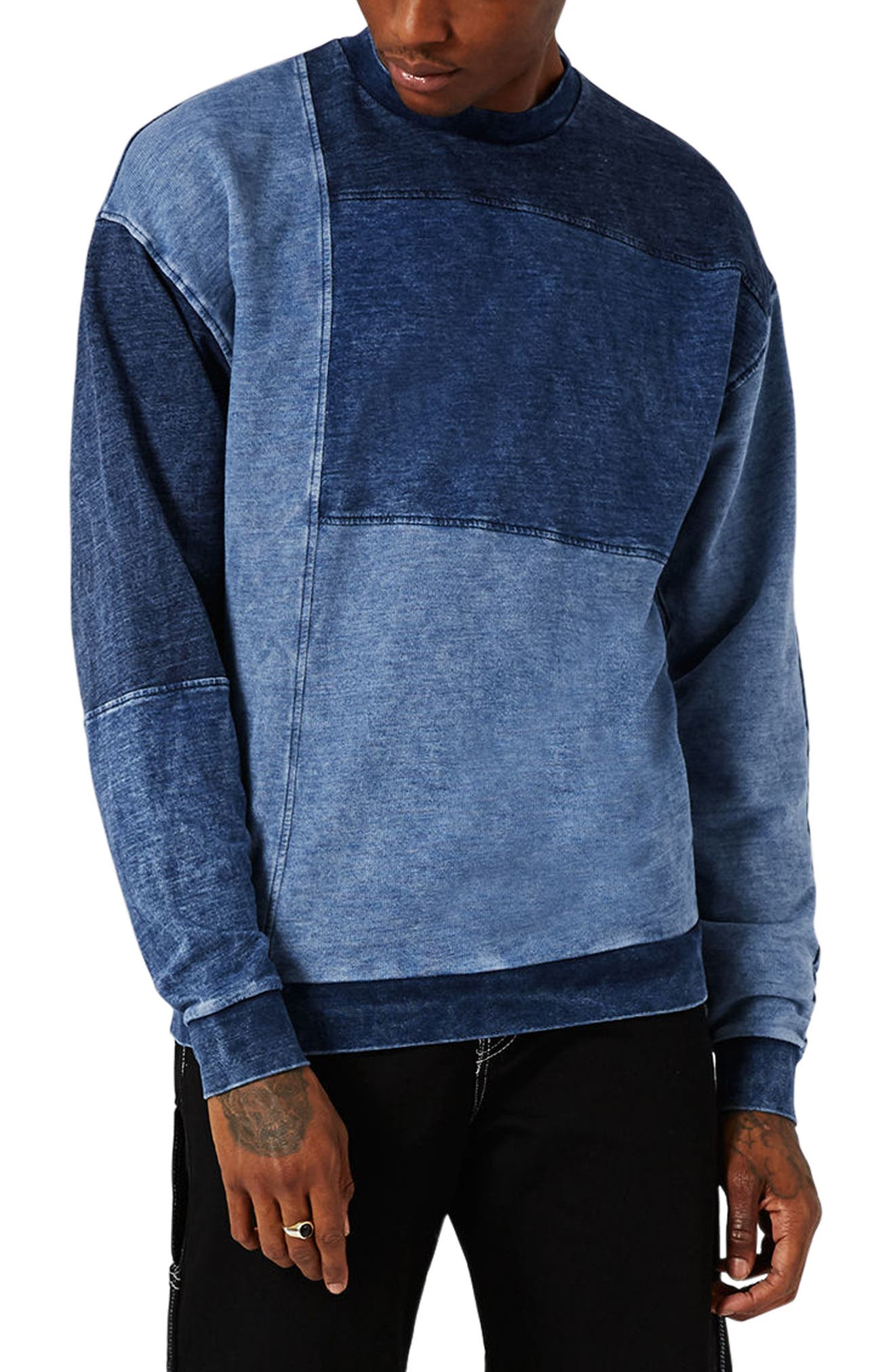 Topman Denim Panel Sweatshirt