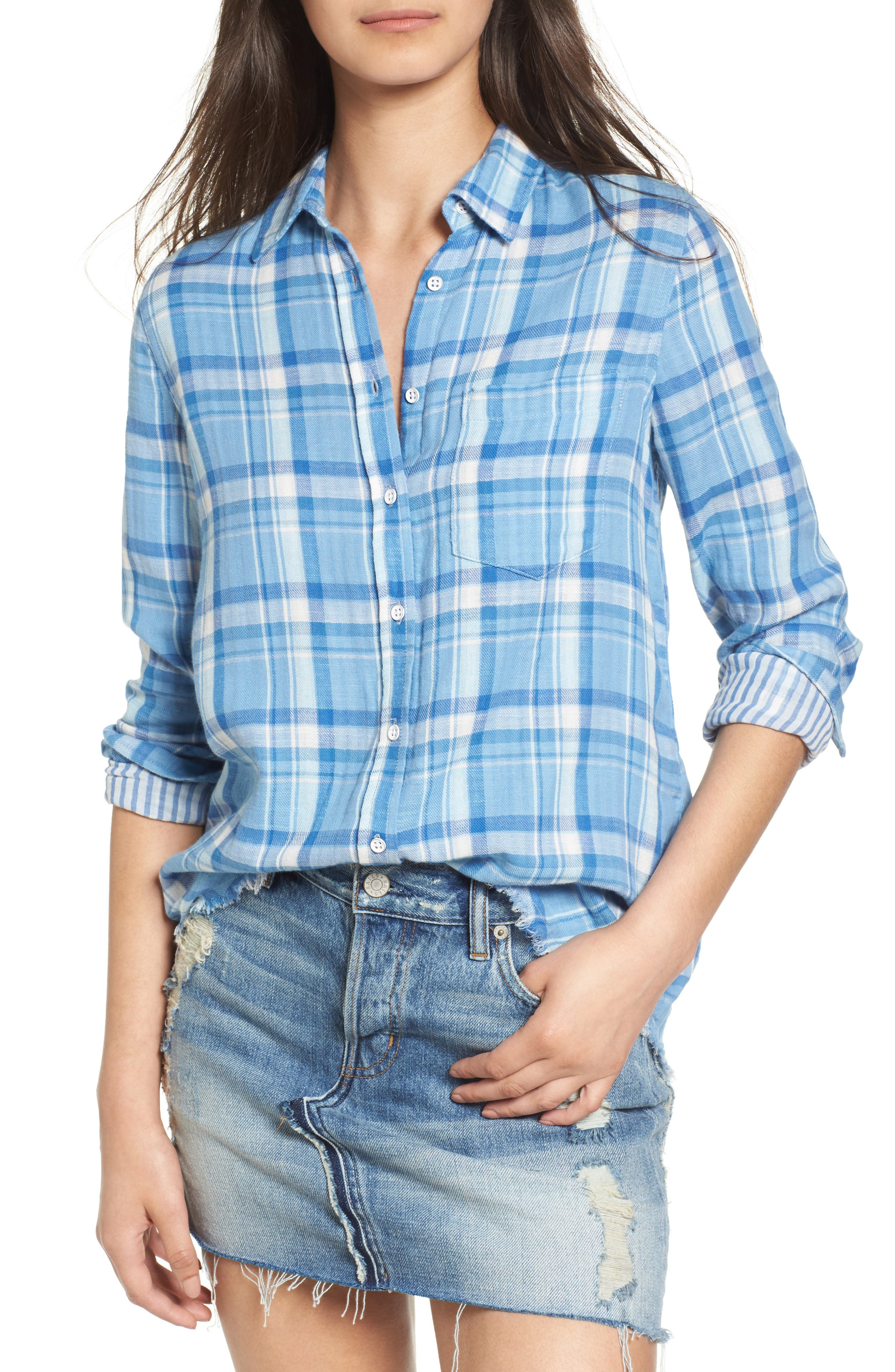 Mercer & Spring Frayed Shirt,                         Main,                         color, Blue Double Faced Plaid