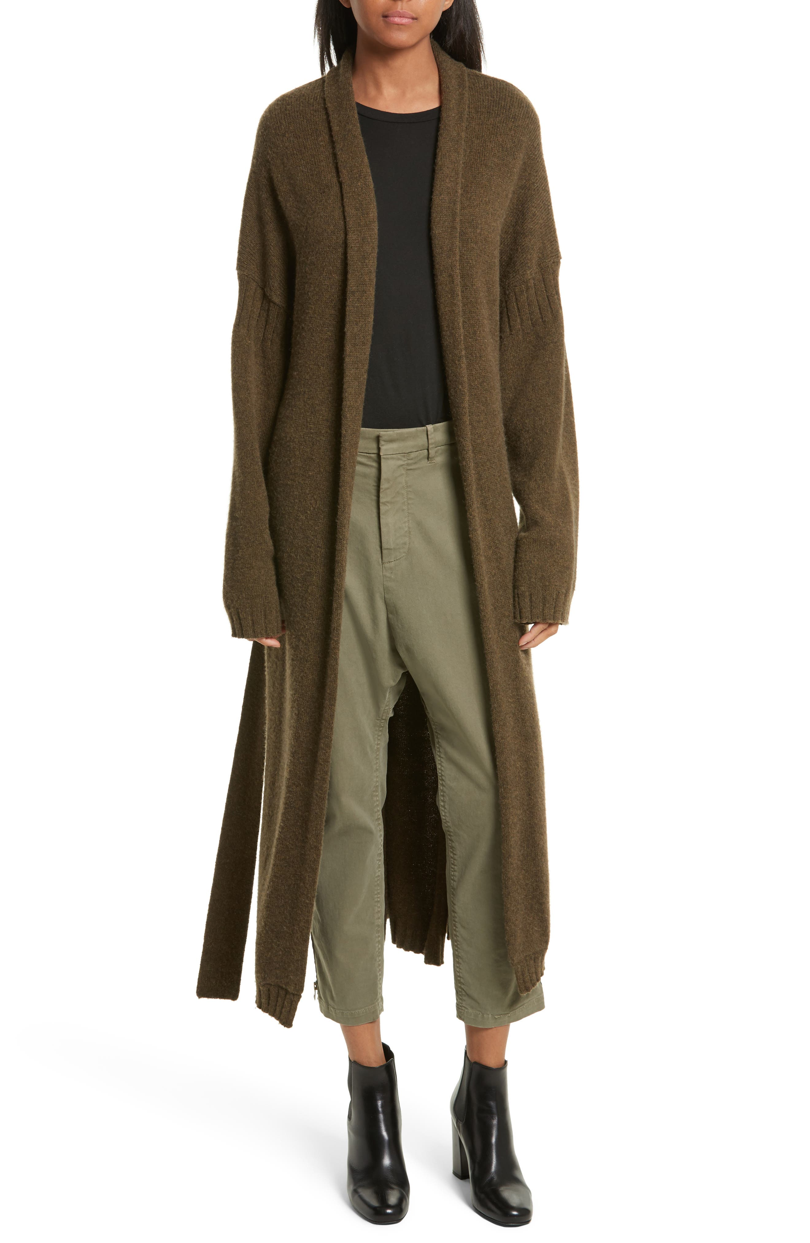 Kinsley Merino Wool Blend Cardigan,                             Main thumbnail 1, color,                             Army Green