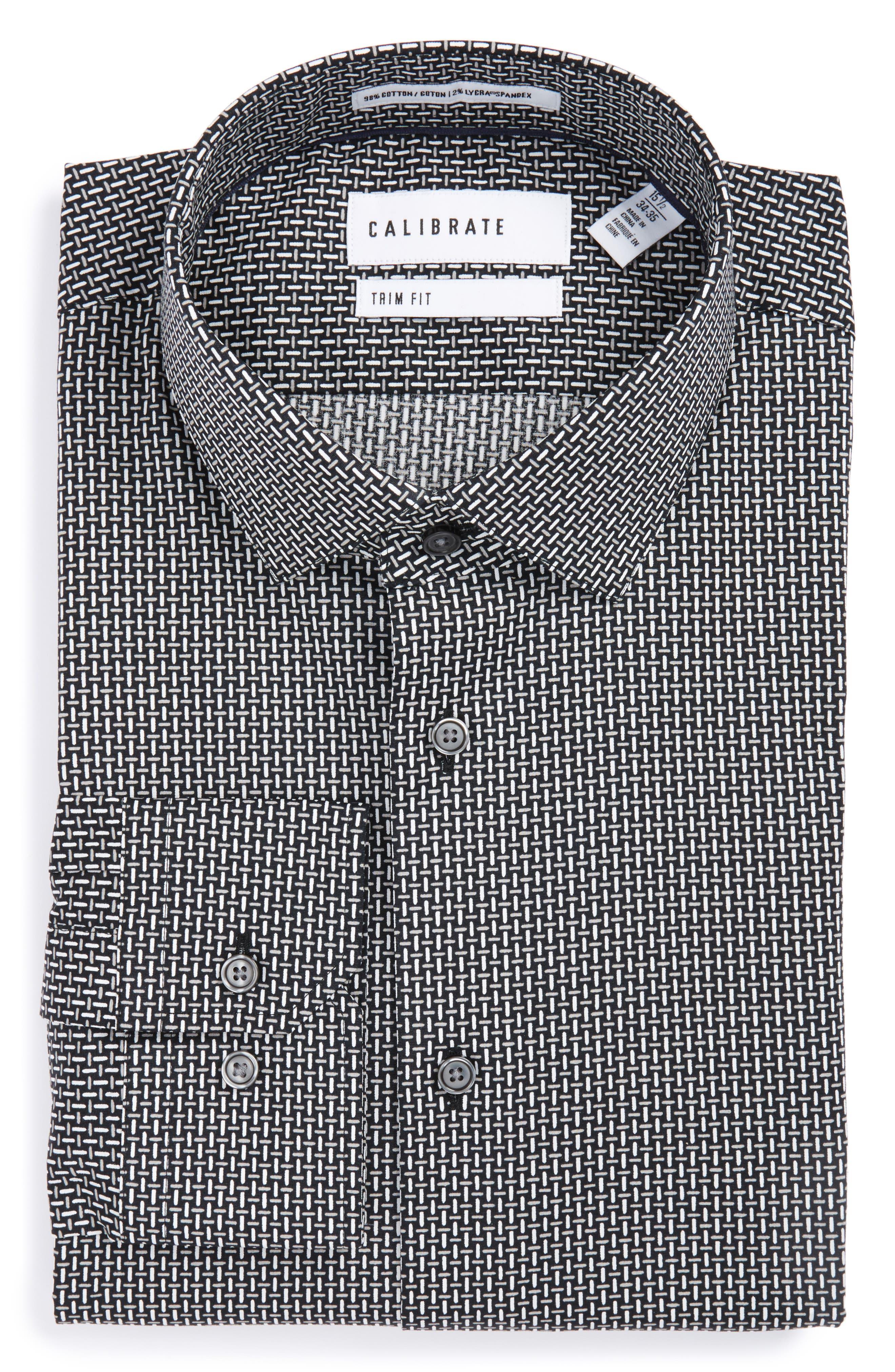 Main Image - Calibrate Trim Fit Non-Iron Graphic Stretch Dress Shirt