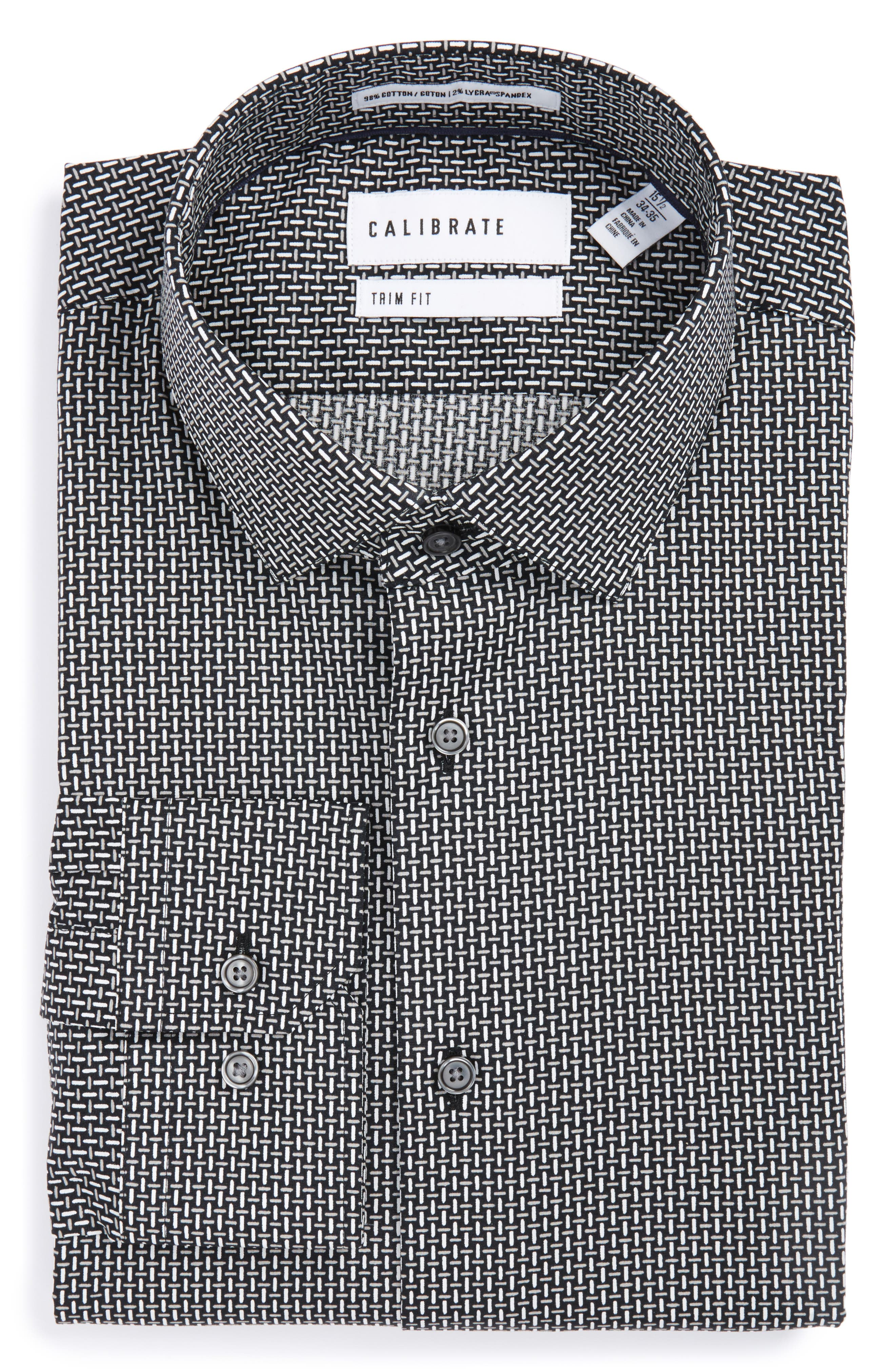 Calibrate Trim Fit Non-Iron Graphic Stretch Dress Shirt