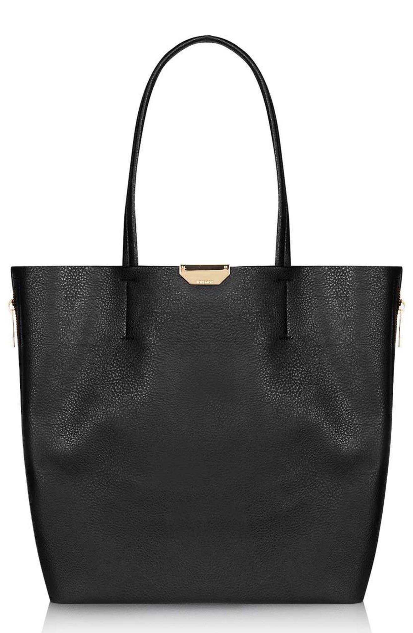 TOPSHOP Side Zip Faux Leather Shopper