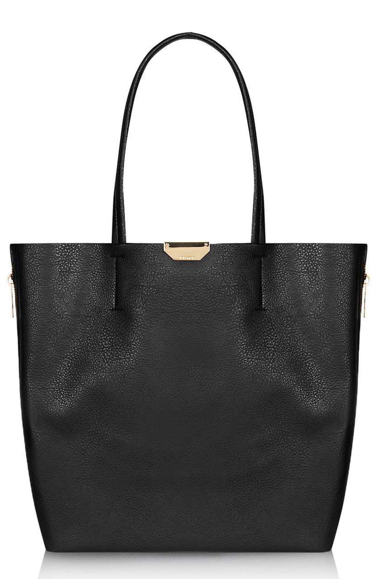 Main Image - Topshop Side Zip Faux Leather Shopper