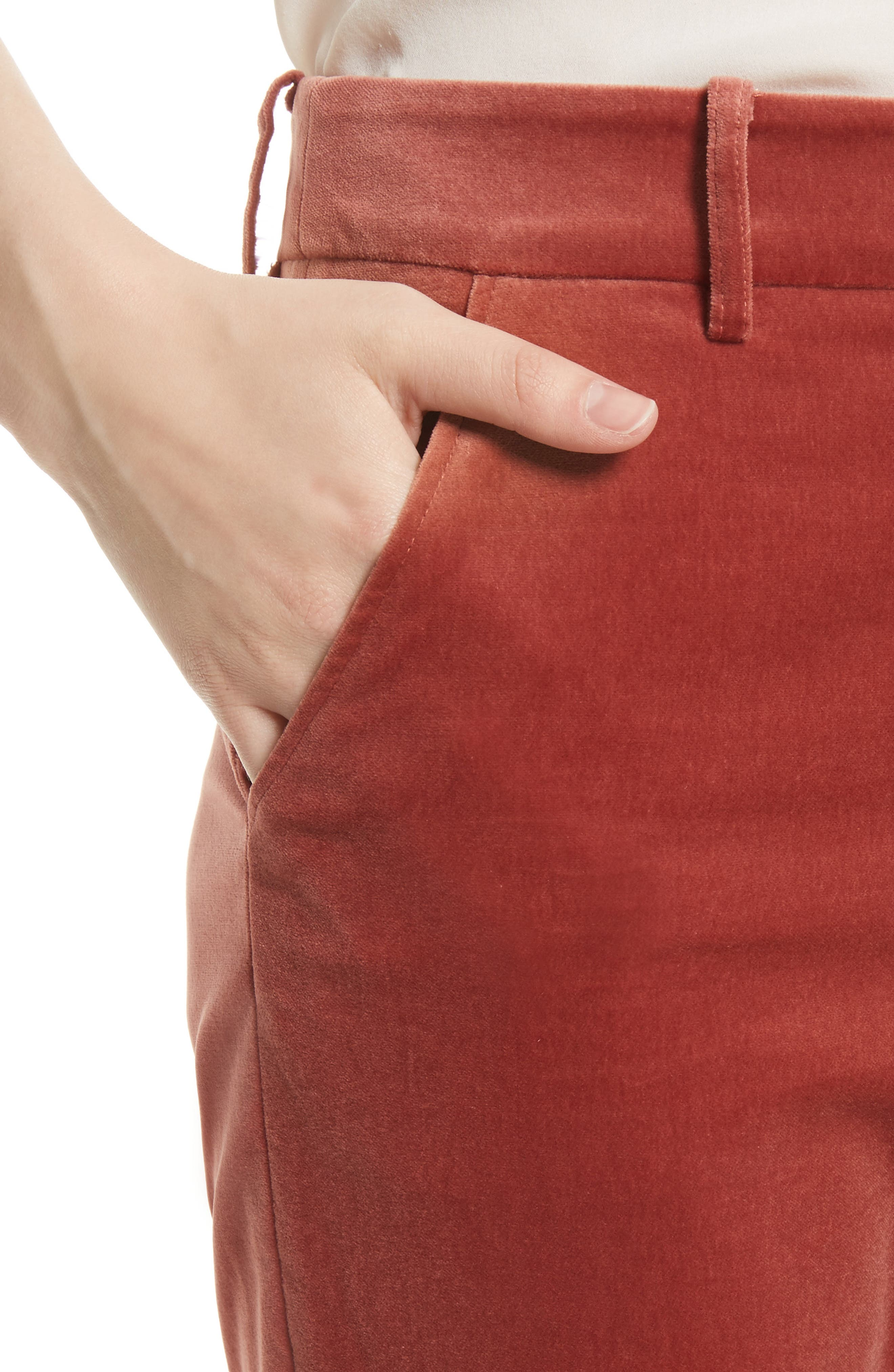 O-Ring Velvet Crop Flare Pants,                             Alternate thumbnail 5, color,                             Spice