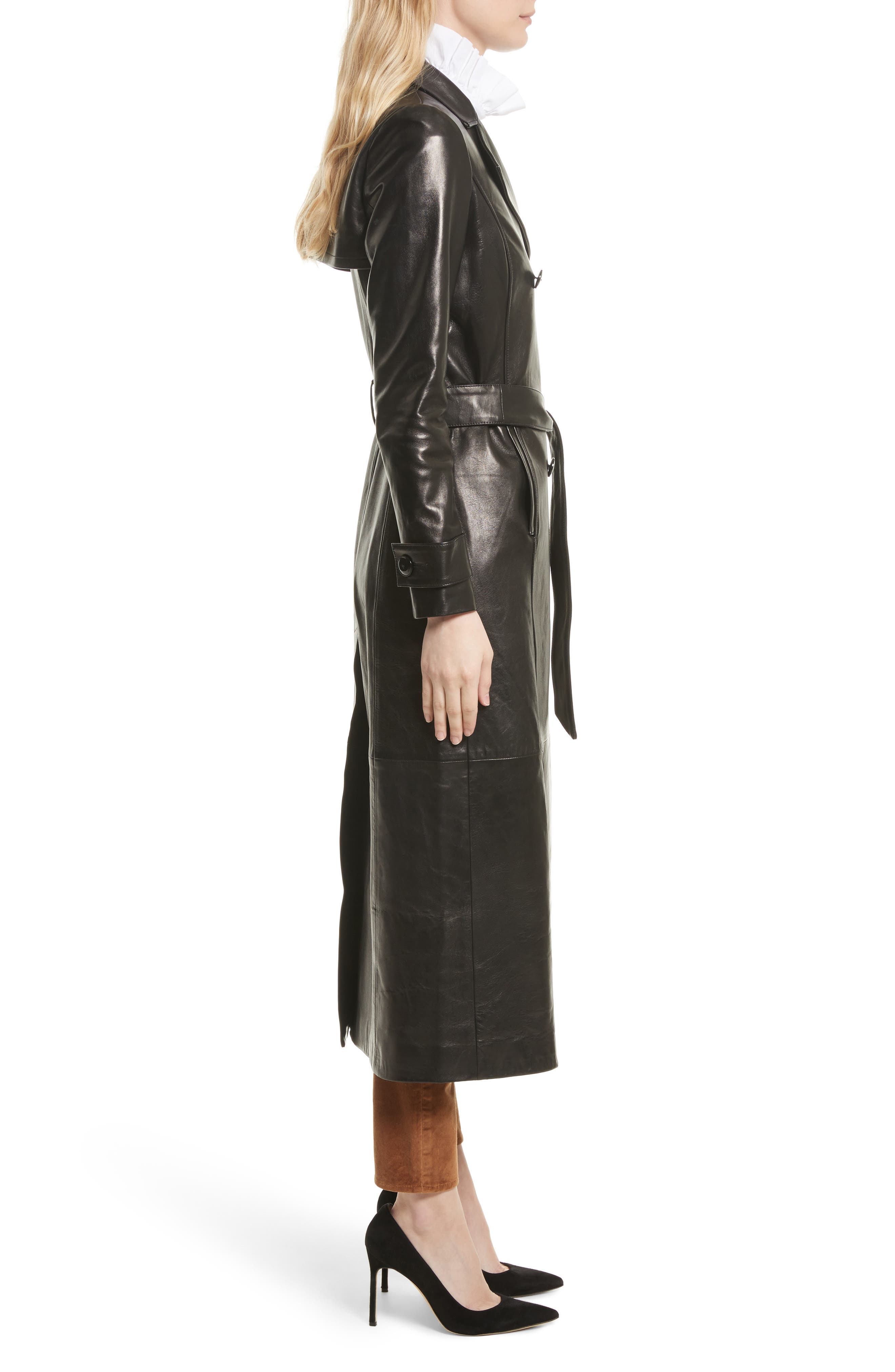 Leather Trench Coat,                             Alternate thumbnail 5, color,                             Noir