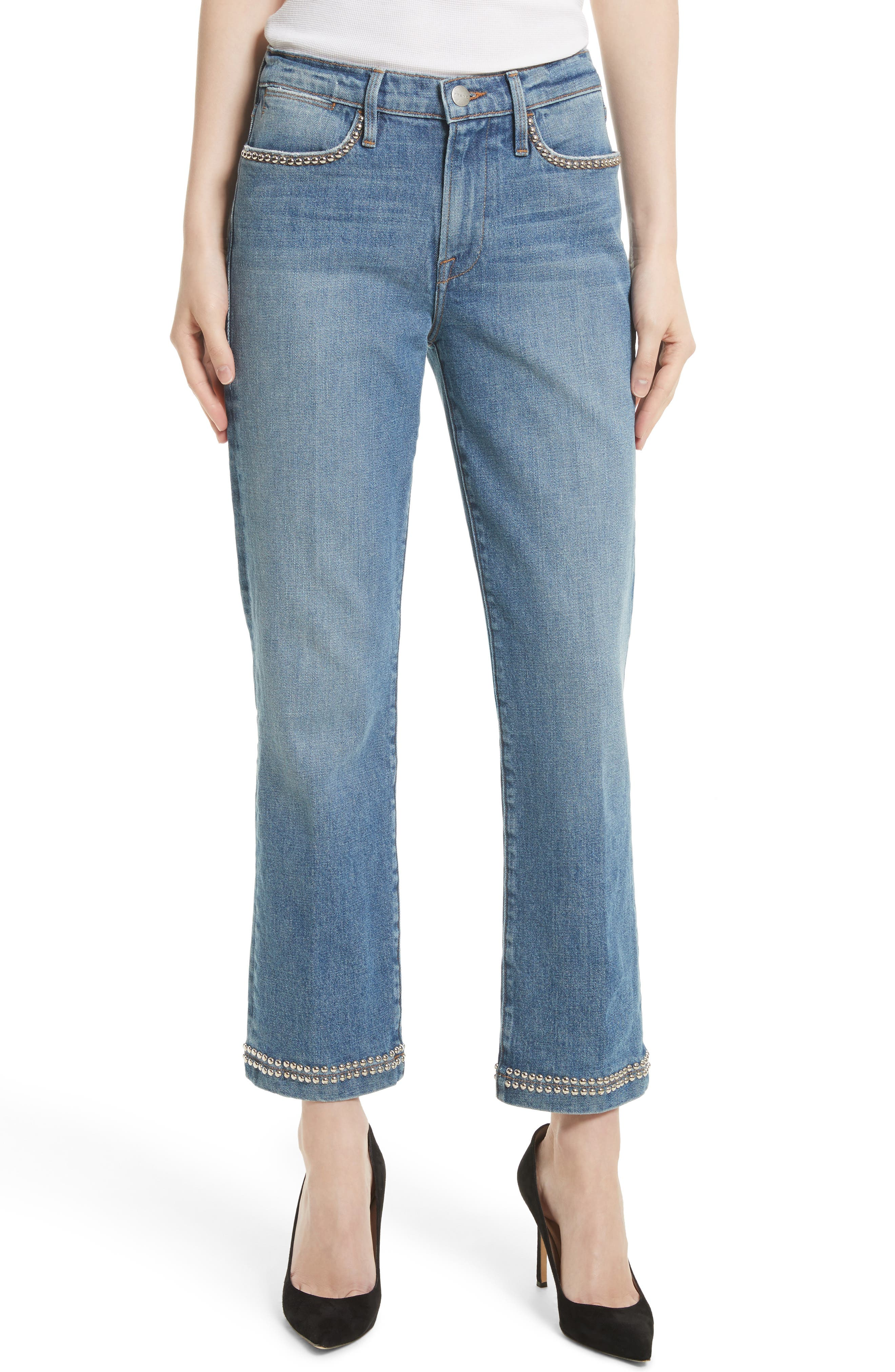 FRAME Le Studded High Straight High Waist Jeans (Anstee)