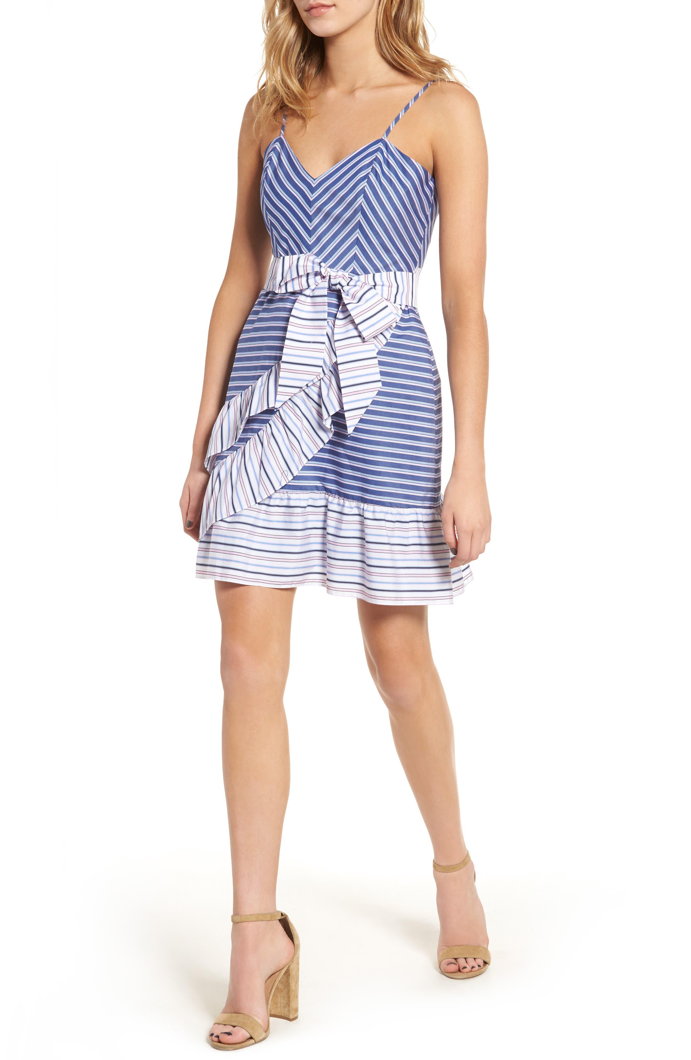 Brooklyn Ruffle Dress,                         Main,                         color, Multi Stripe