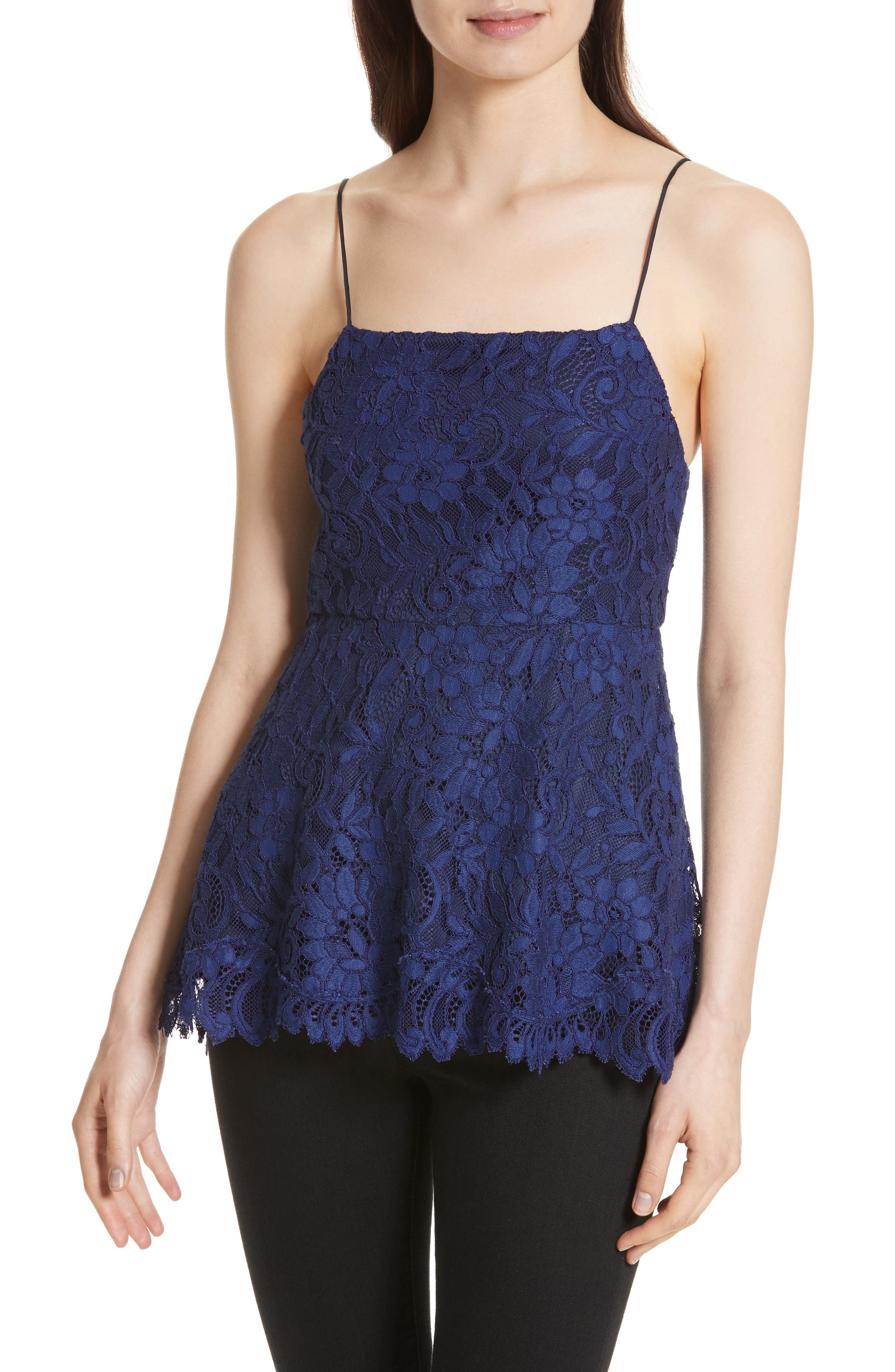 Alternate Image 1 Selected - Alice + Olivia Maxine Lace Peplum Camisole