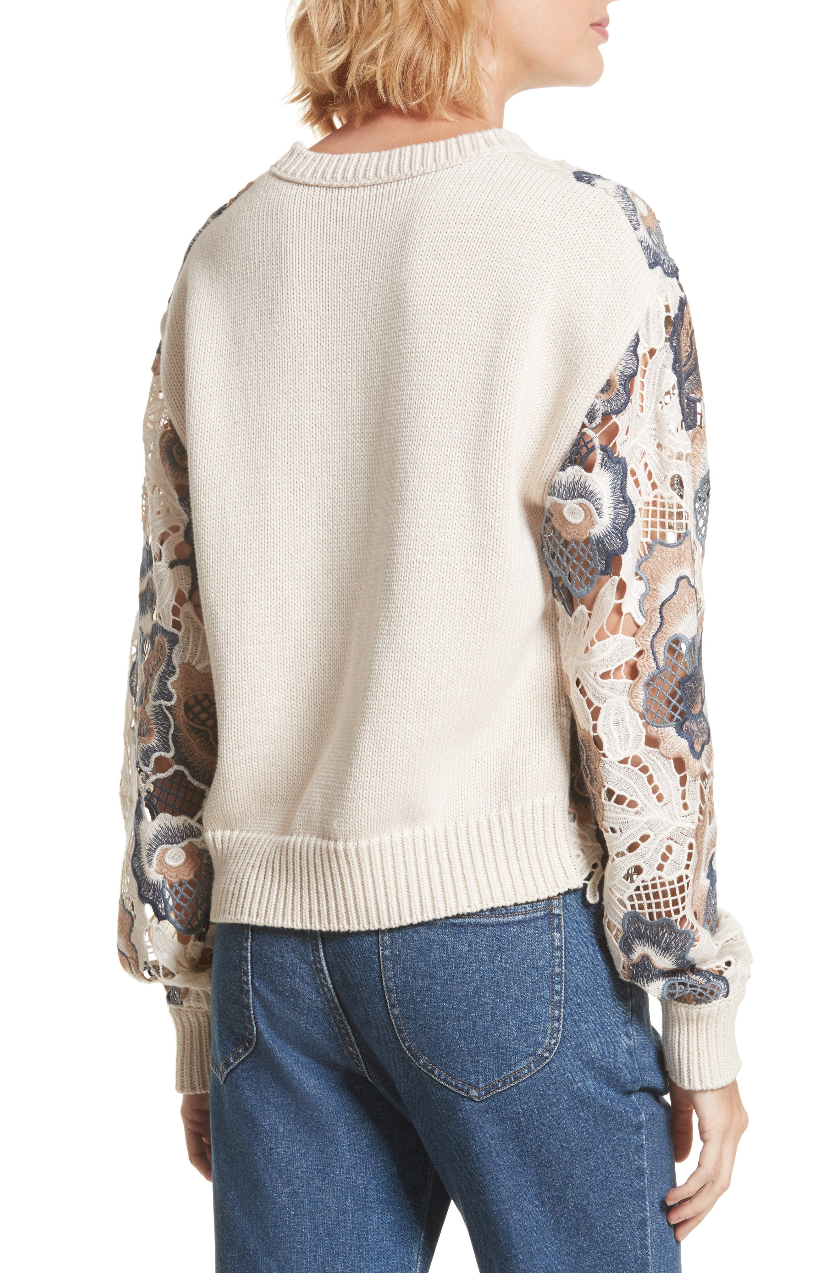 Floral Lace Sweater,                             Alternate thumbnail 3, color,                             White And Blue