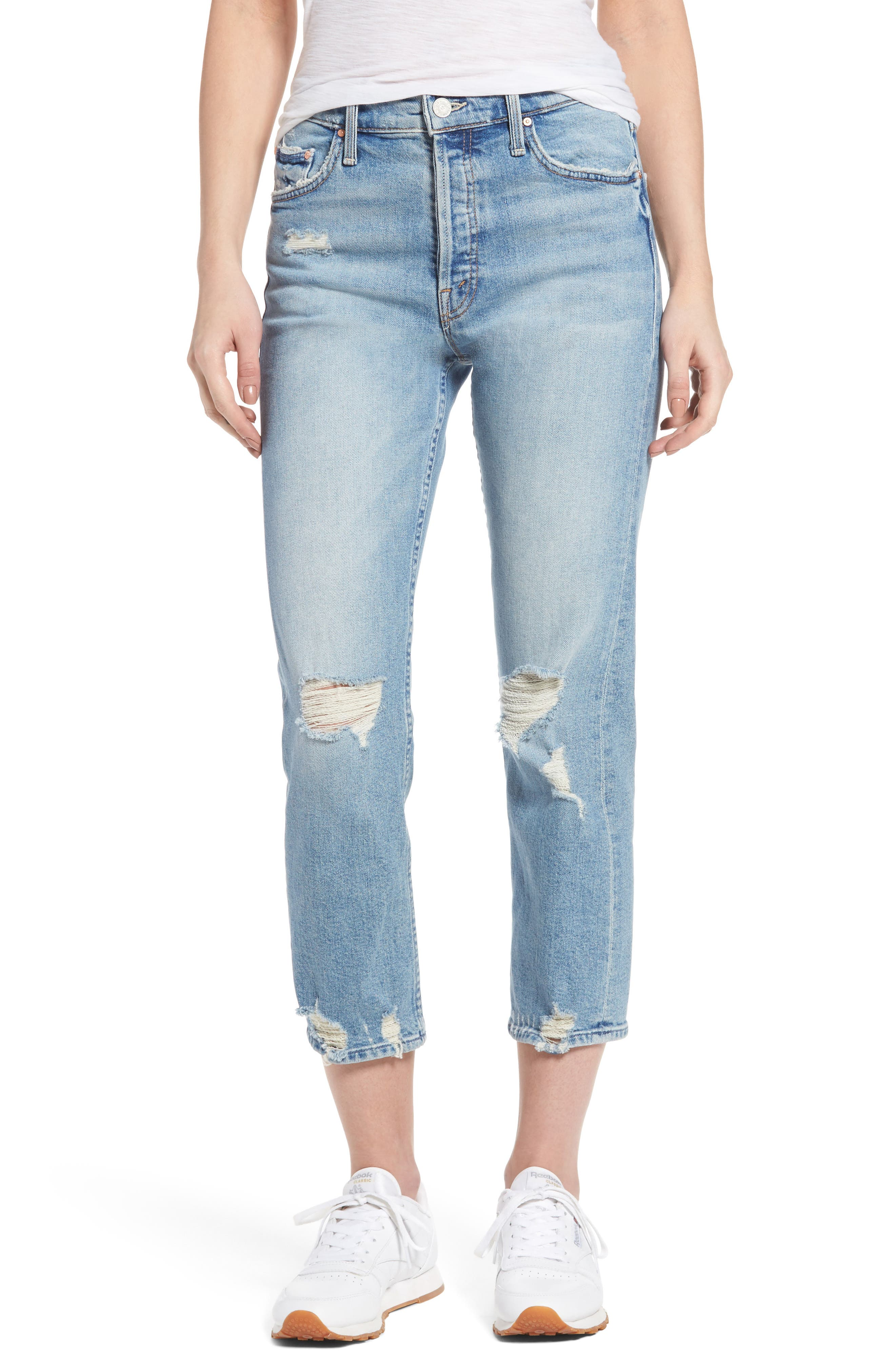 MOTHER The Tomcat Ripped Crop Straight Leg Jeans (The Confession)