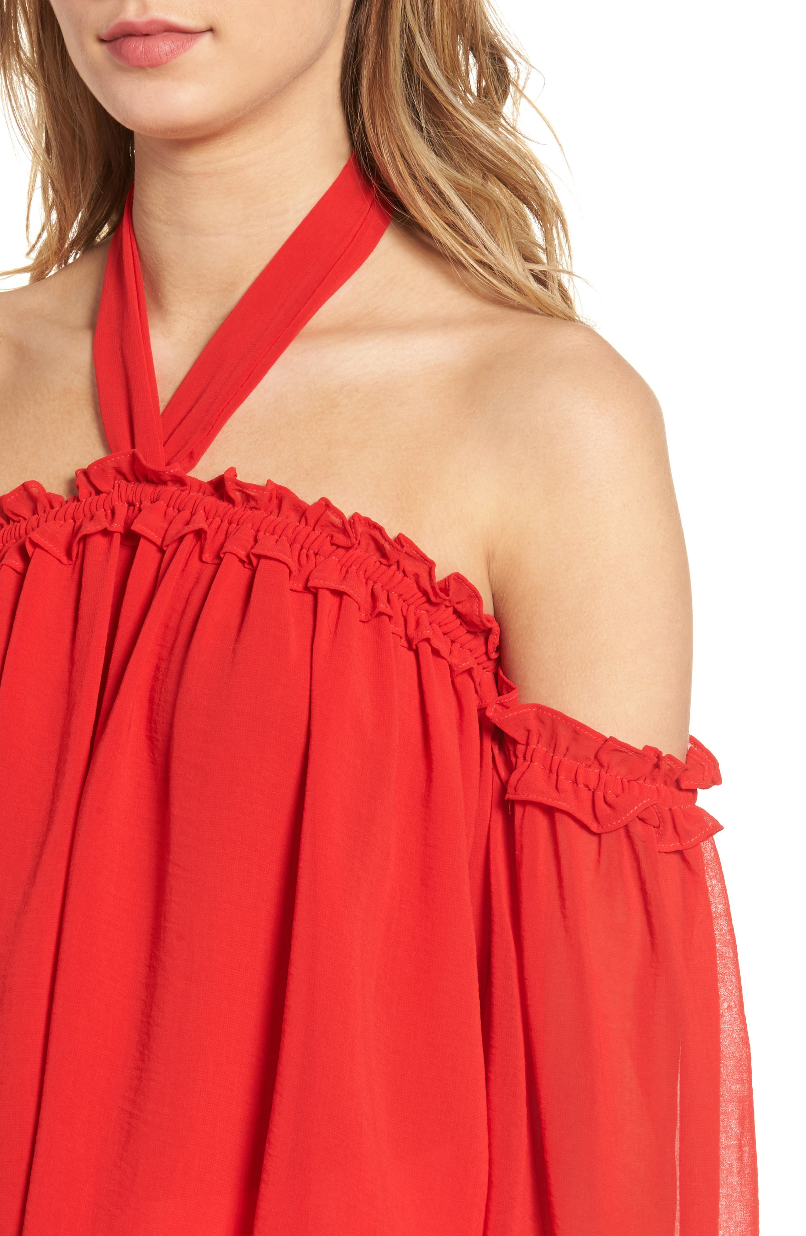 Lively Off the Shoulder Top,                             Alternate thumbnail 5, color,                             Red