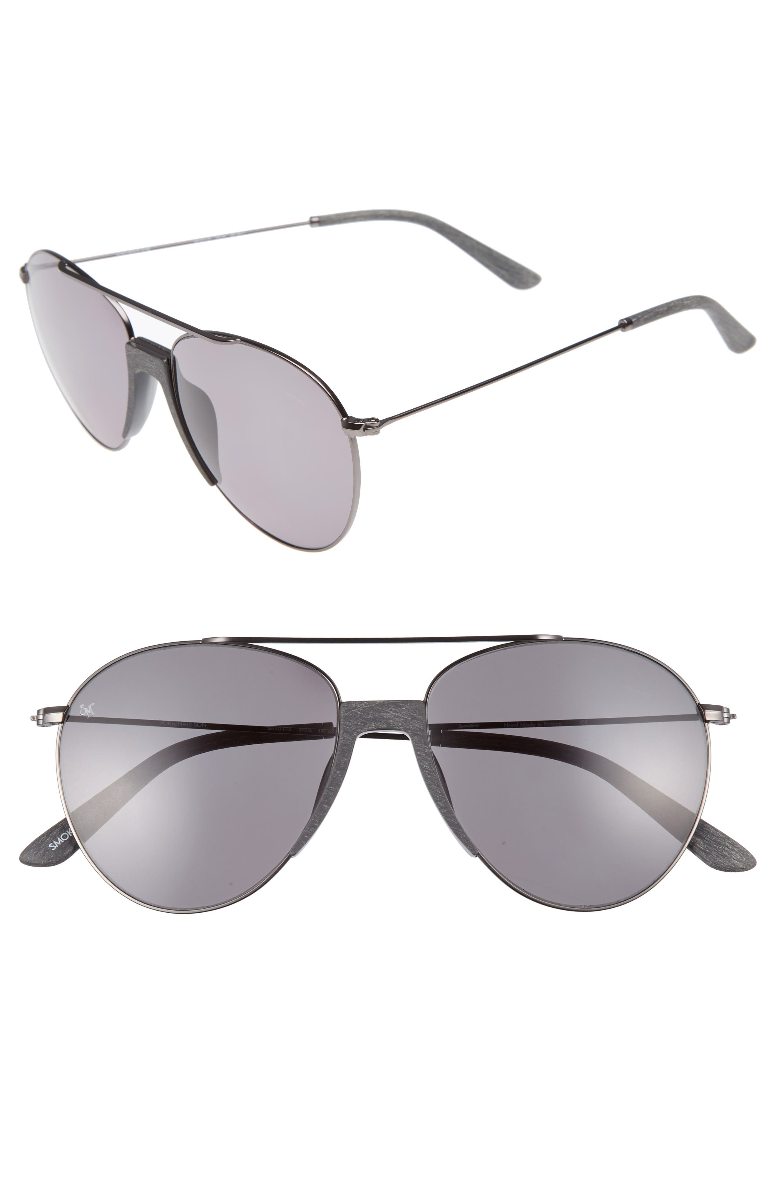 Fortunate Son 55mm Gradient Lens Aviator Sunglasses,                         Main,                         color, Grey Wood/ Light Green
