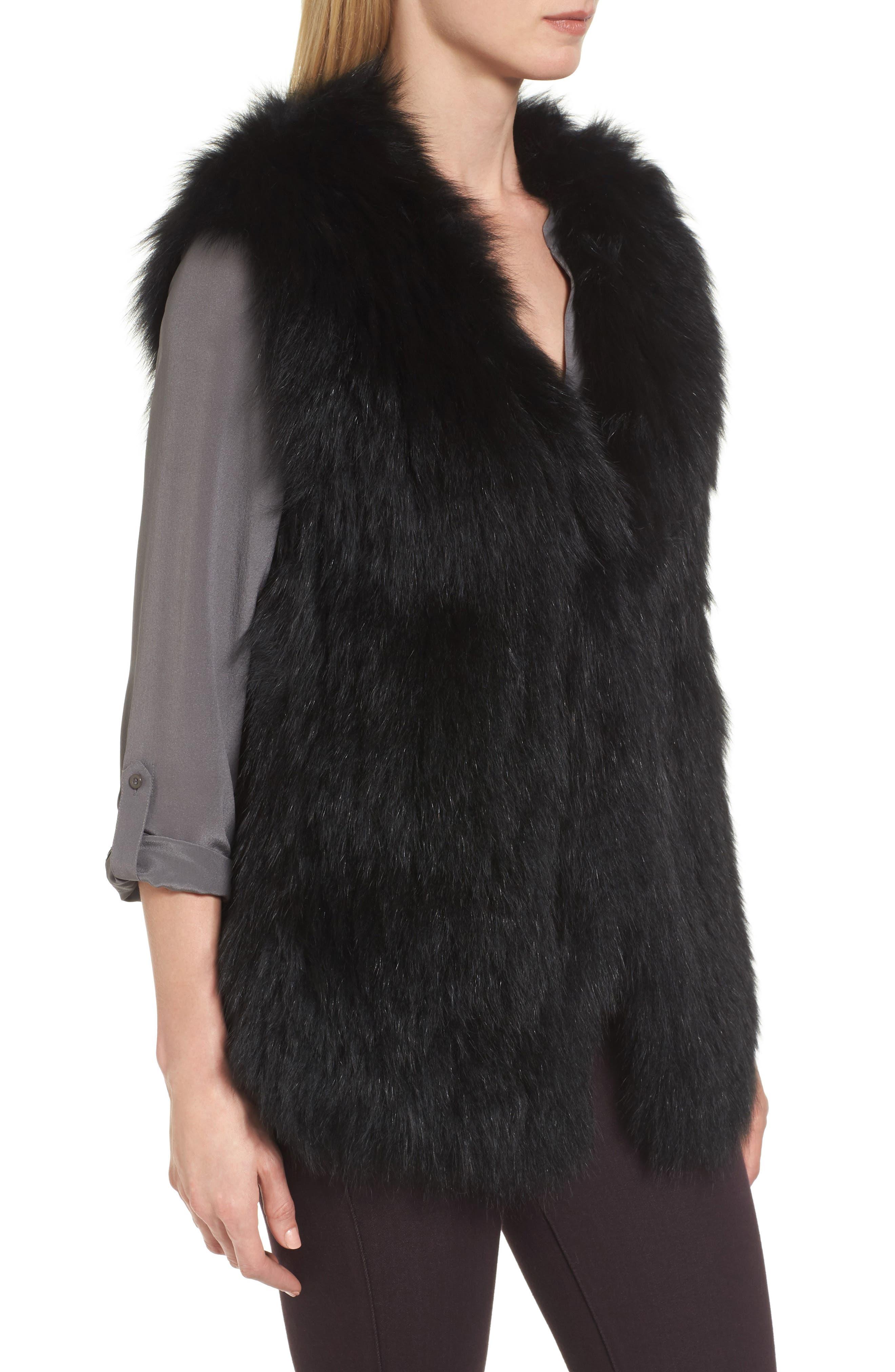 Genuine Fox Fur Vest,                             Alternate thumbnail 3, color,                             Black