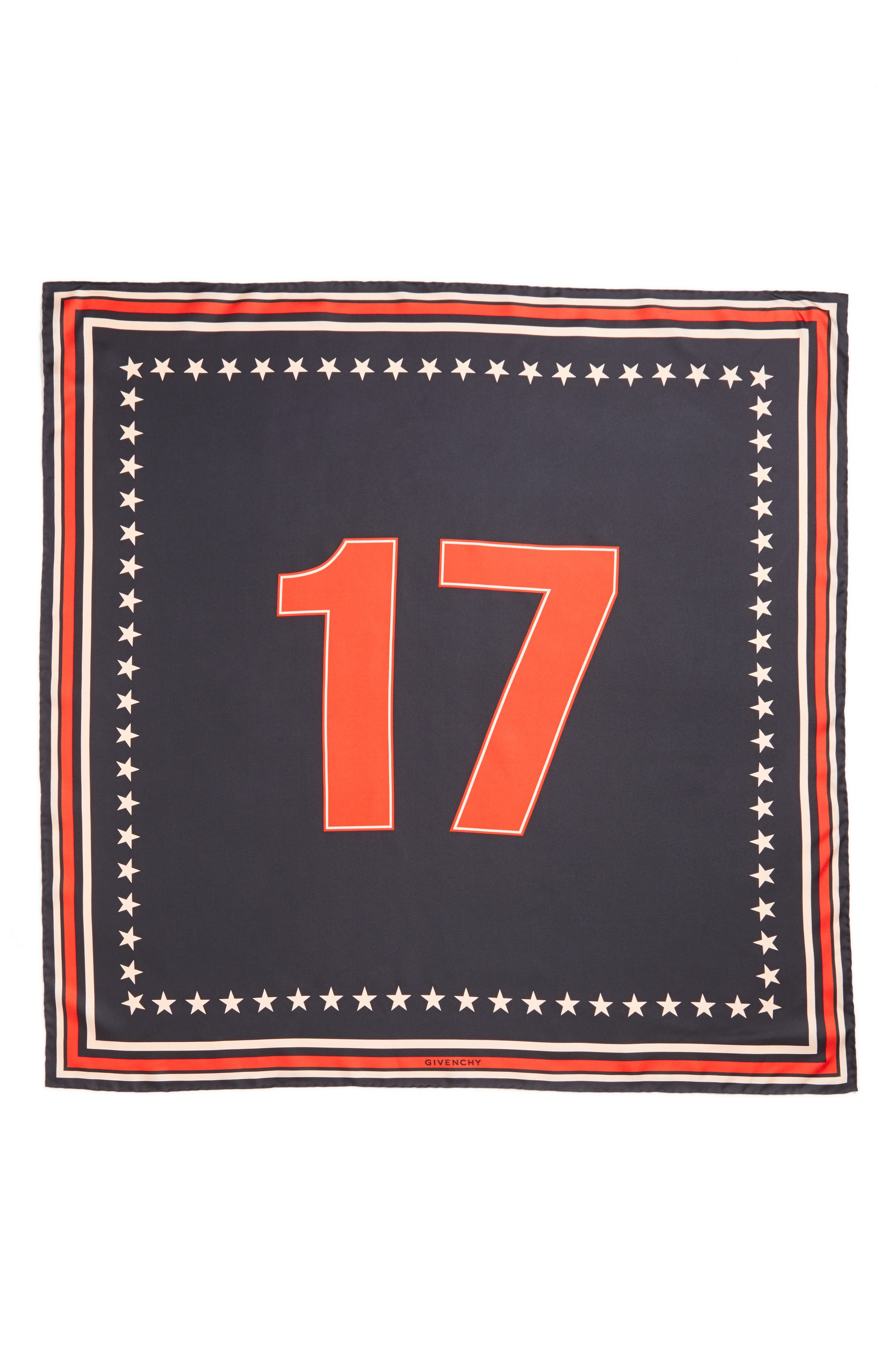 Givenchy '17' Square Silk Scarf