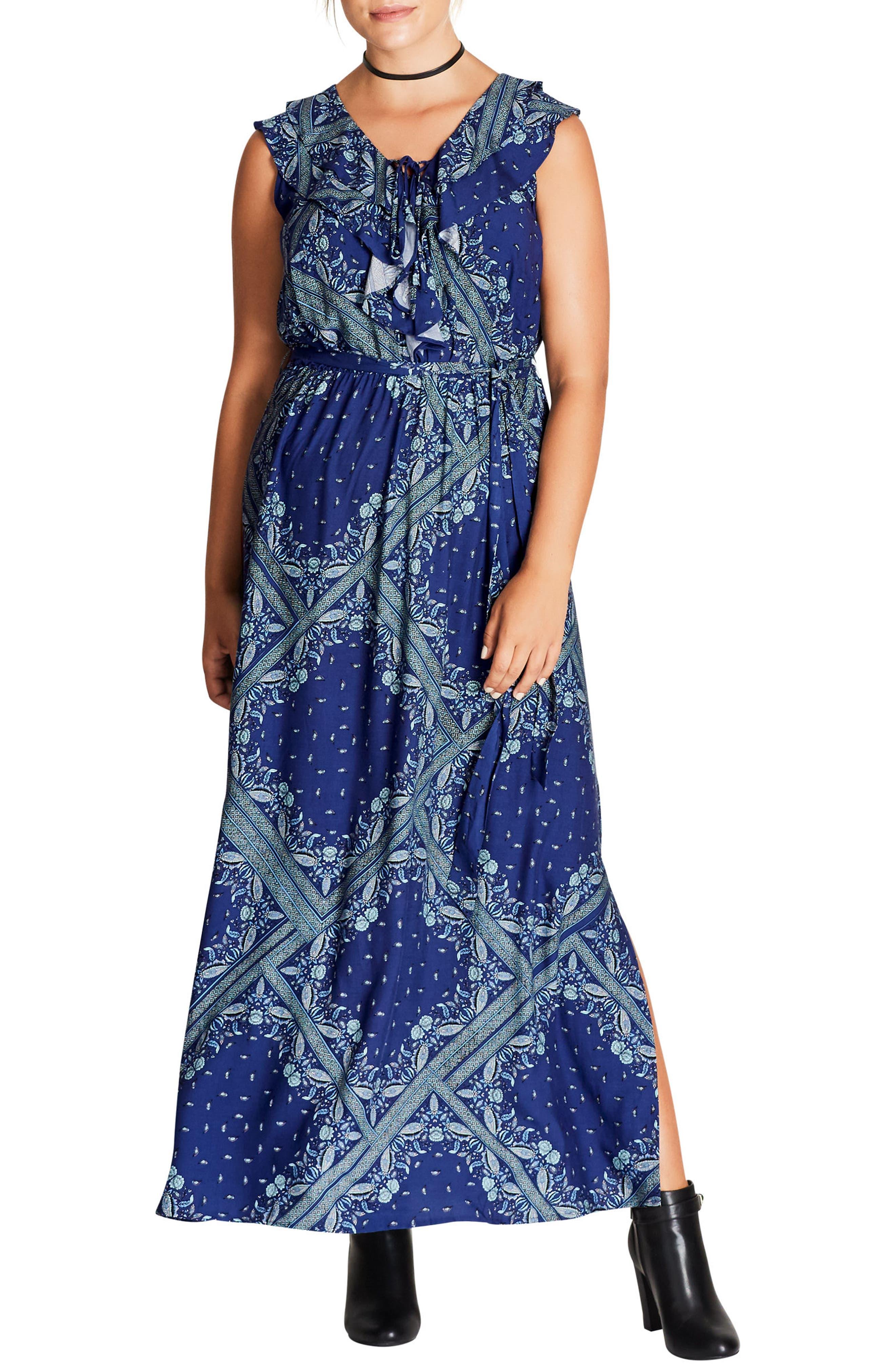 Patchwork Print Maxi Dress,                         Main,                         color, Blue Patchwork
