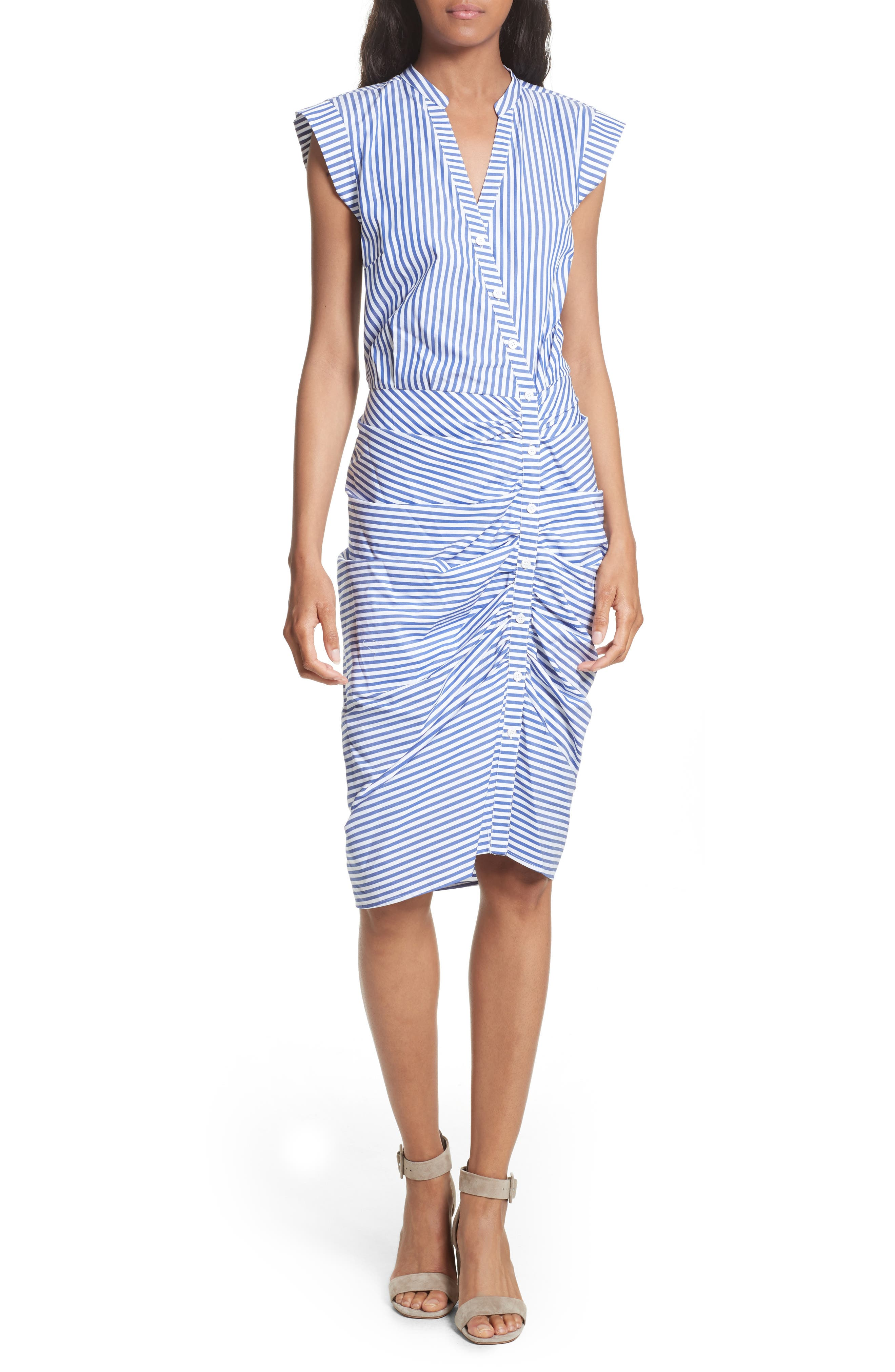 Ruched Stripe Shirtdress,                             Main thumbnail 1, color,                             Blue/ White Stripe