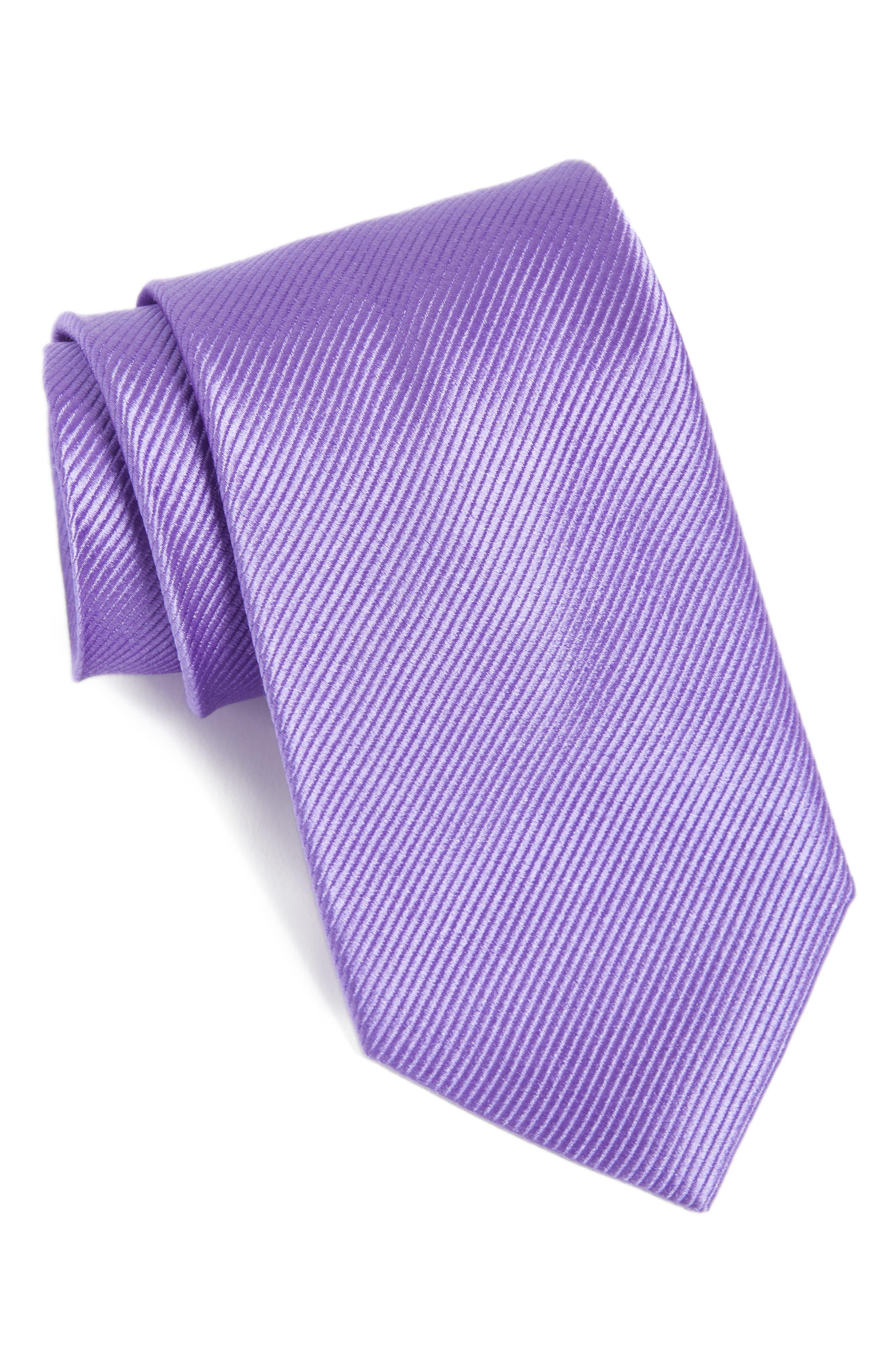 Solid Silk Tie,                         Main,                         color, Lavender