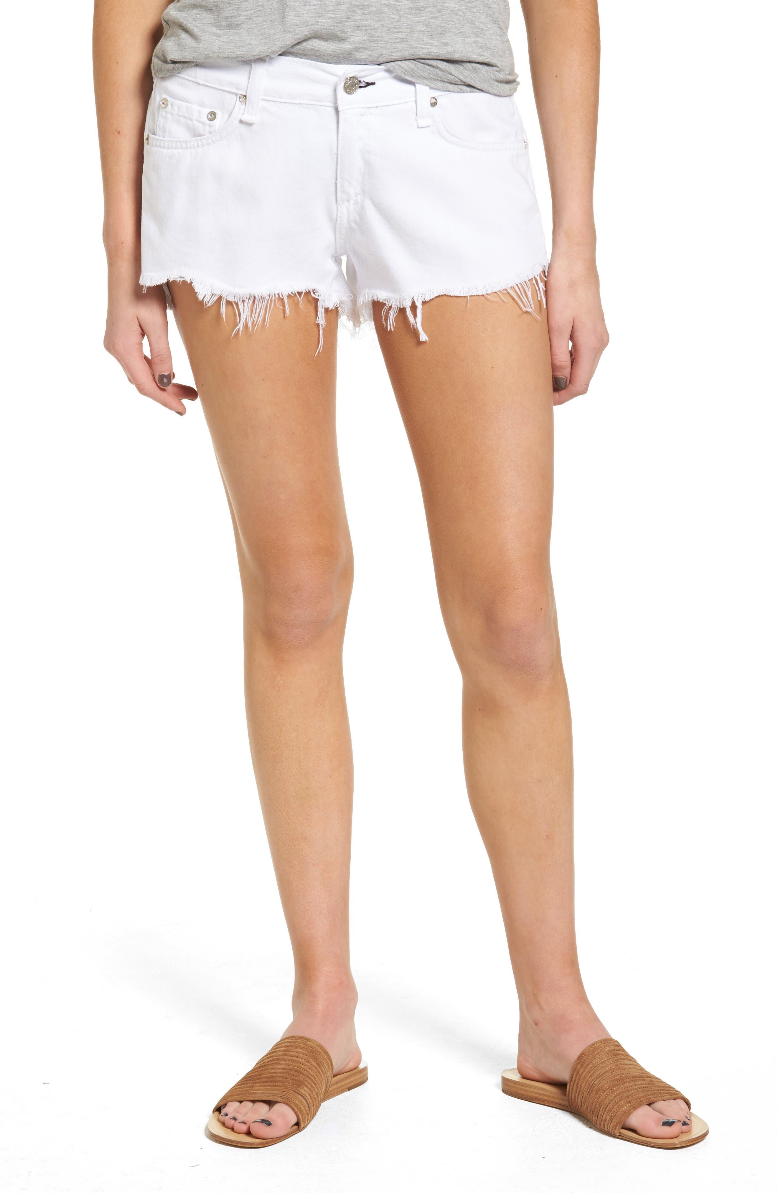Ripped Cutoff Denim Shorts,                         Main,                         color, White Freeport