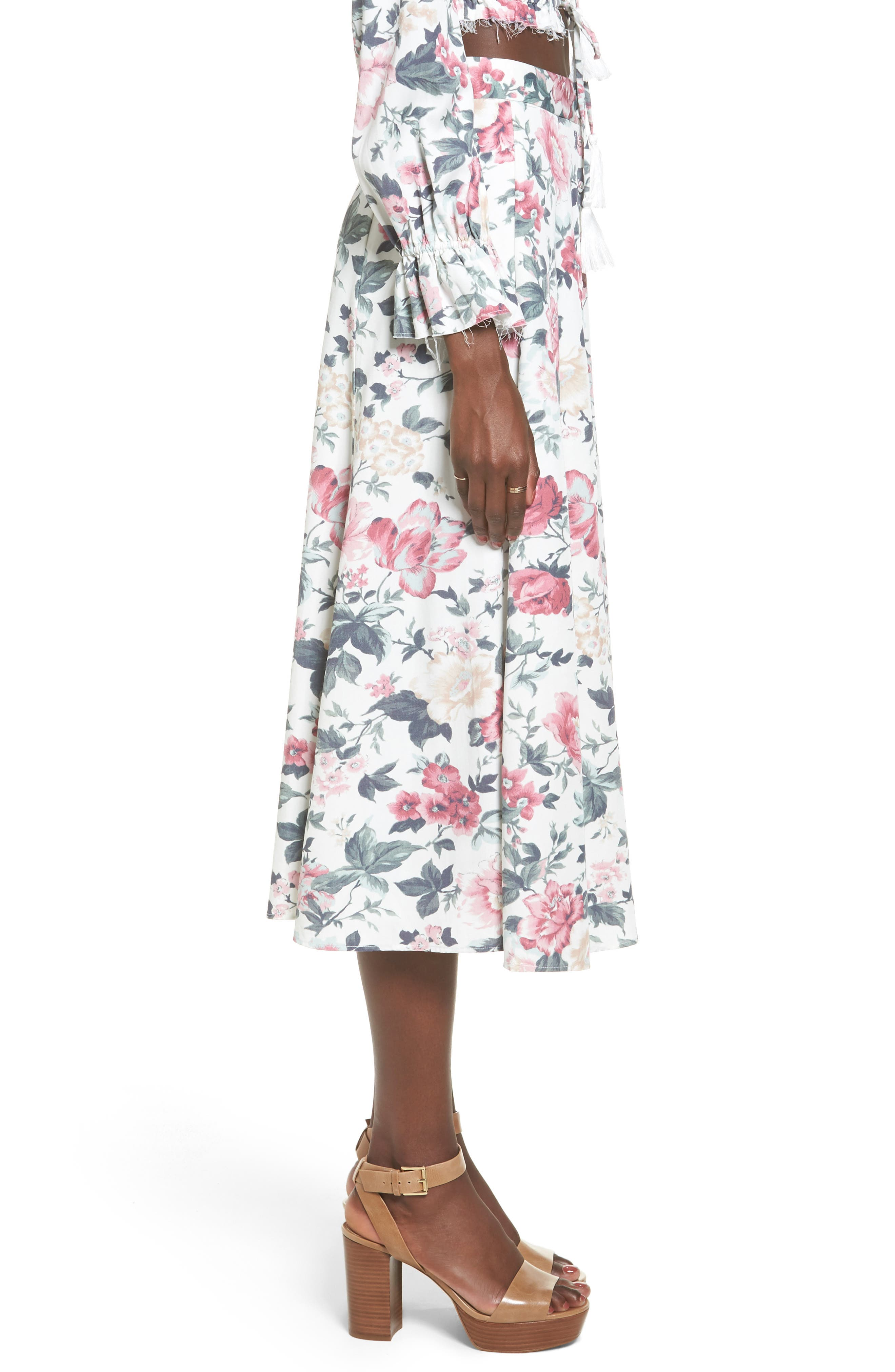 Sunday Midi Skirt,                             Alternate thumbnail 4, color,                             Carnation