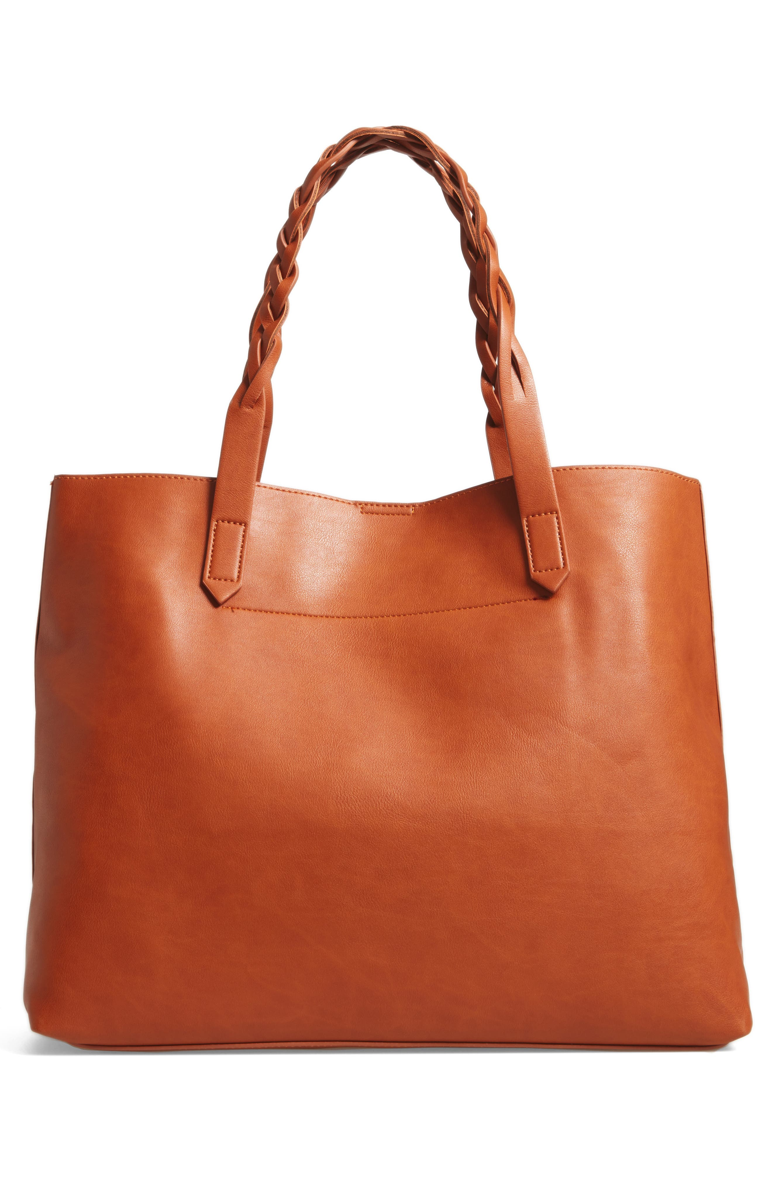 Amal Faux Leather Tote,                             Alternate thumbnail 2, color,                             Cognac