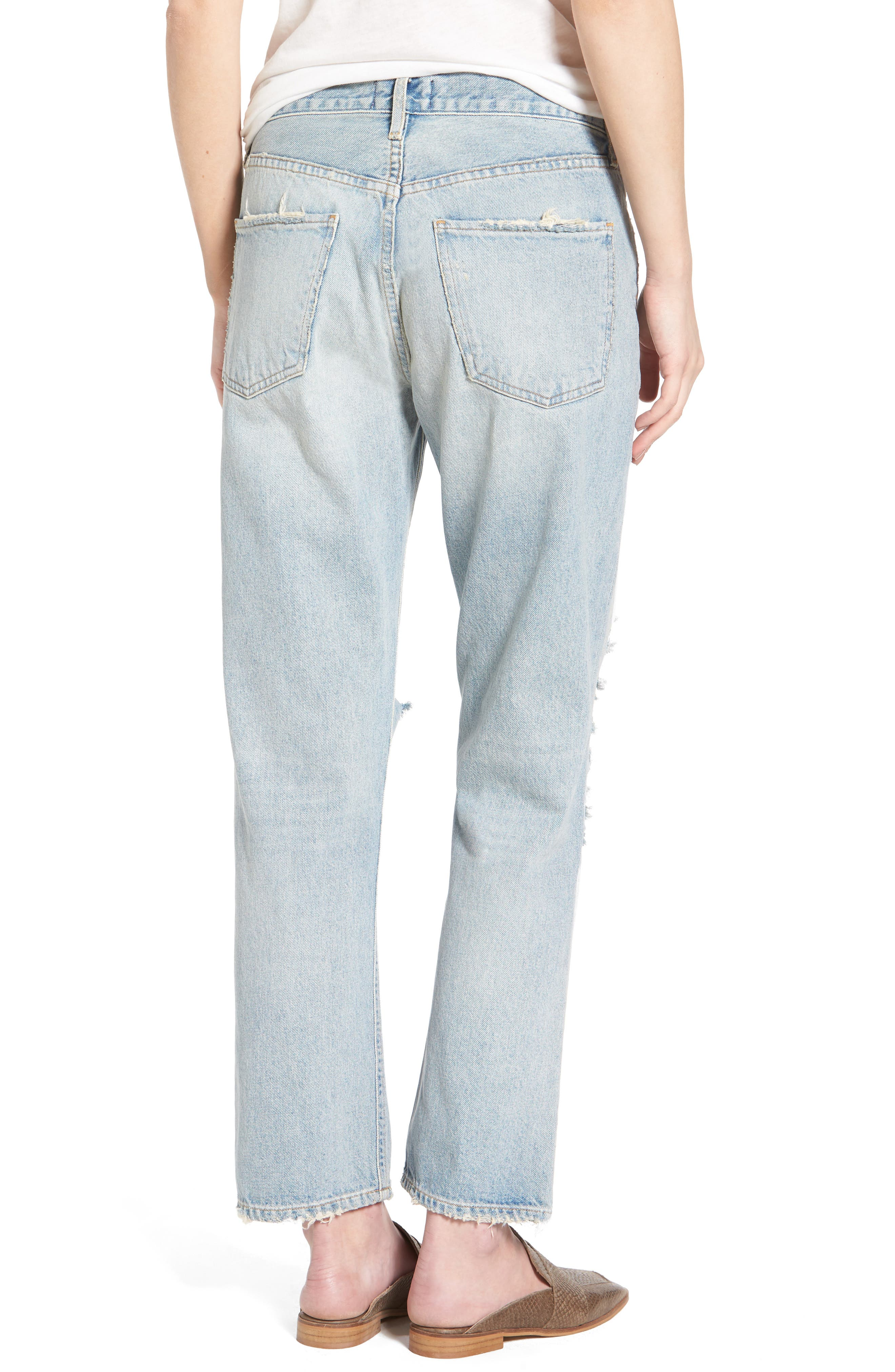 Alternate Image 2  - AGOLDE Ripped High Waist Straight Leg Jeans (Runaway)