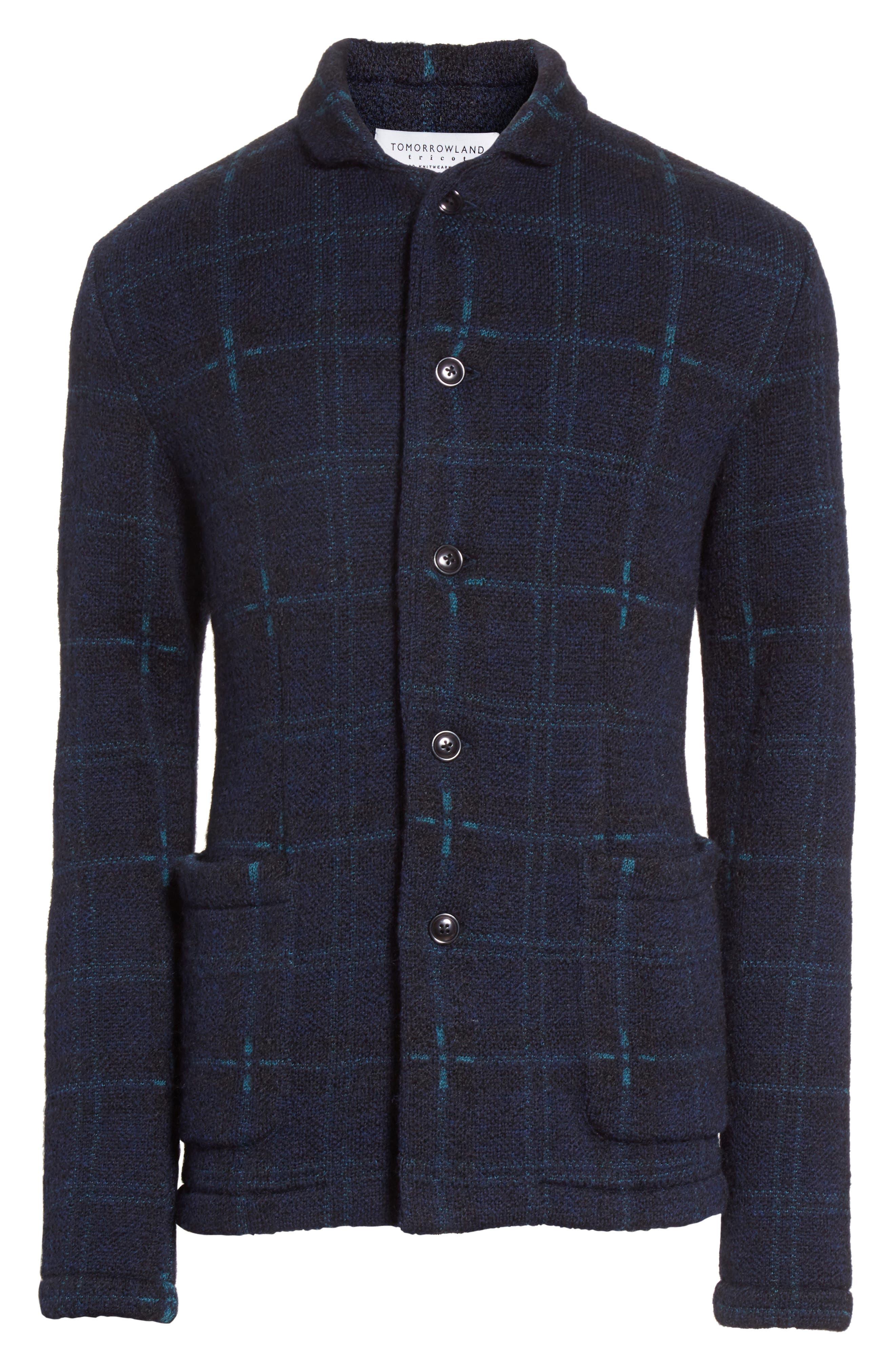 Wool Blend Knit Sportcoat,                             Alternate thumbnail 6, color,                             Navy