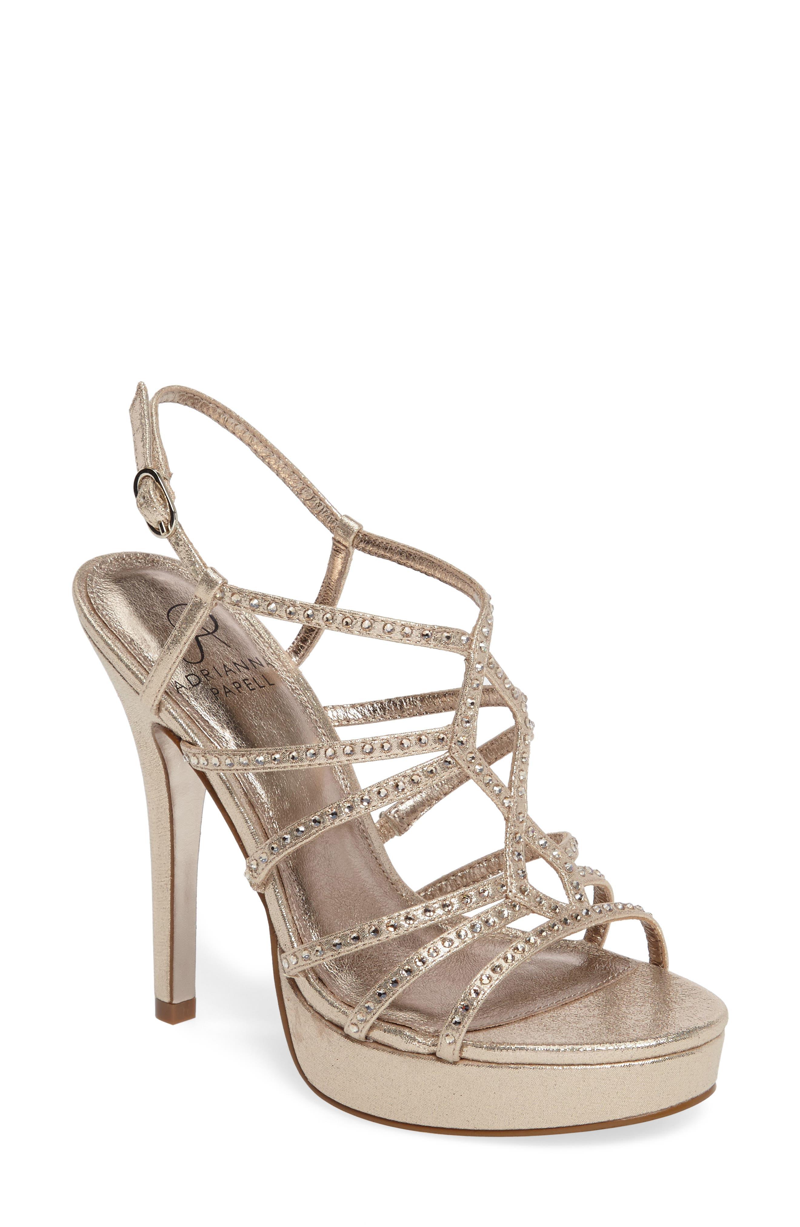 Miranda Embellished Platform Sandal,                             Main thumbnail 1, color,                             Gold Metallic Fabric