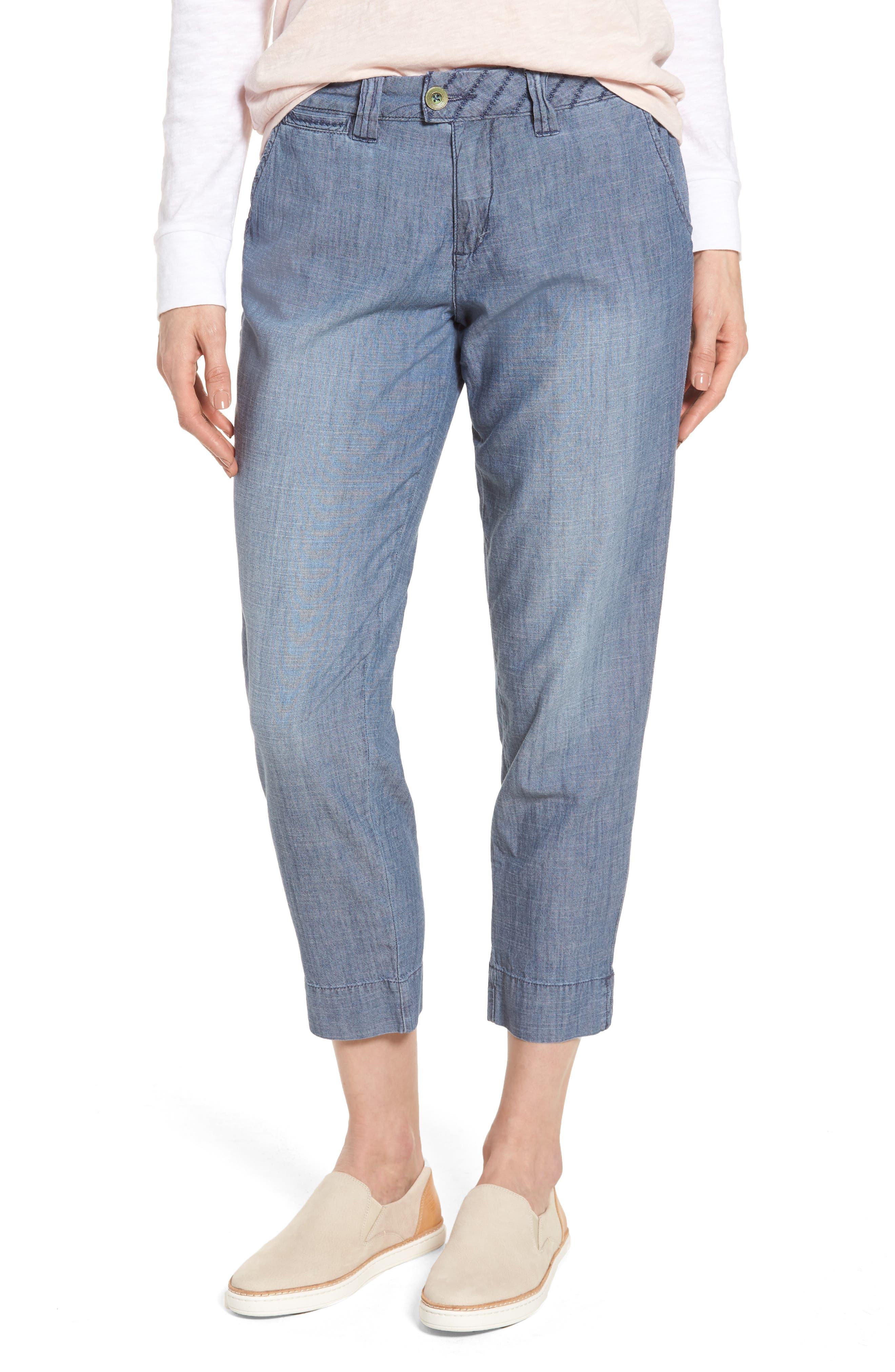 Creston Crop Chambray Pants,                         Main,                         color, Medium Indigo