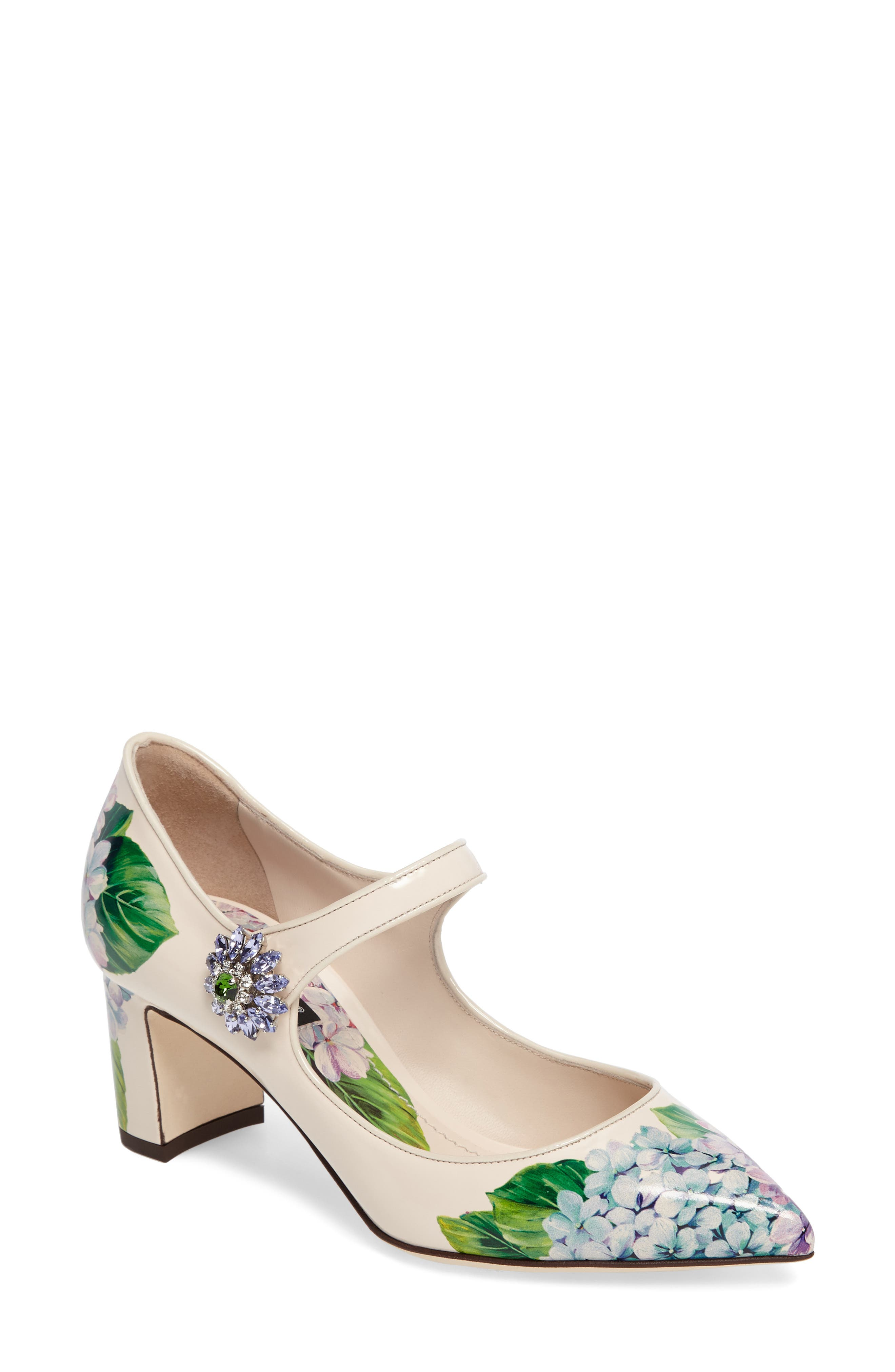 Hydrangea Mary Jane Pump,                             Main thumbnail 1, color,                             White Floral