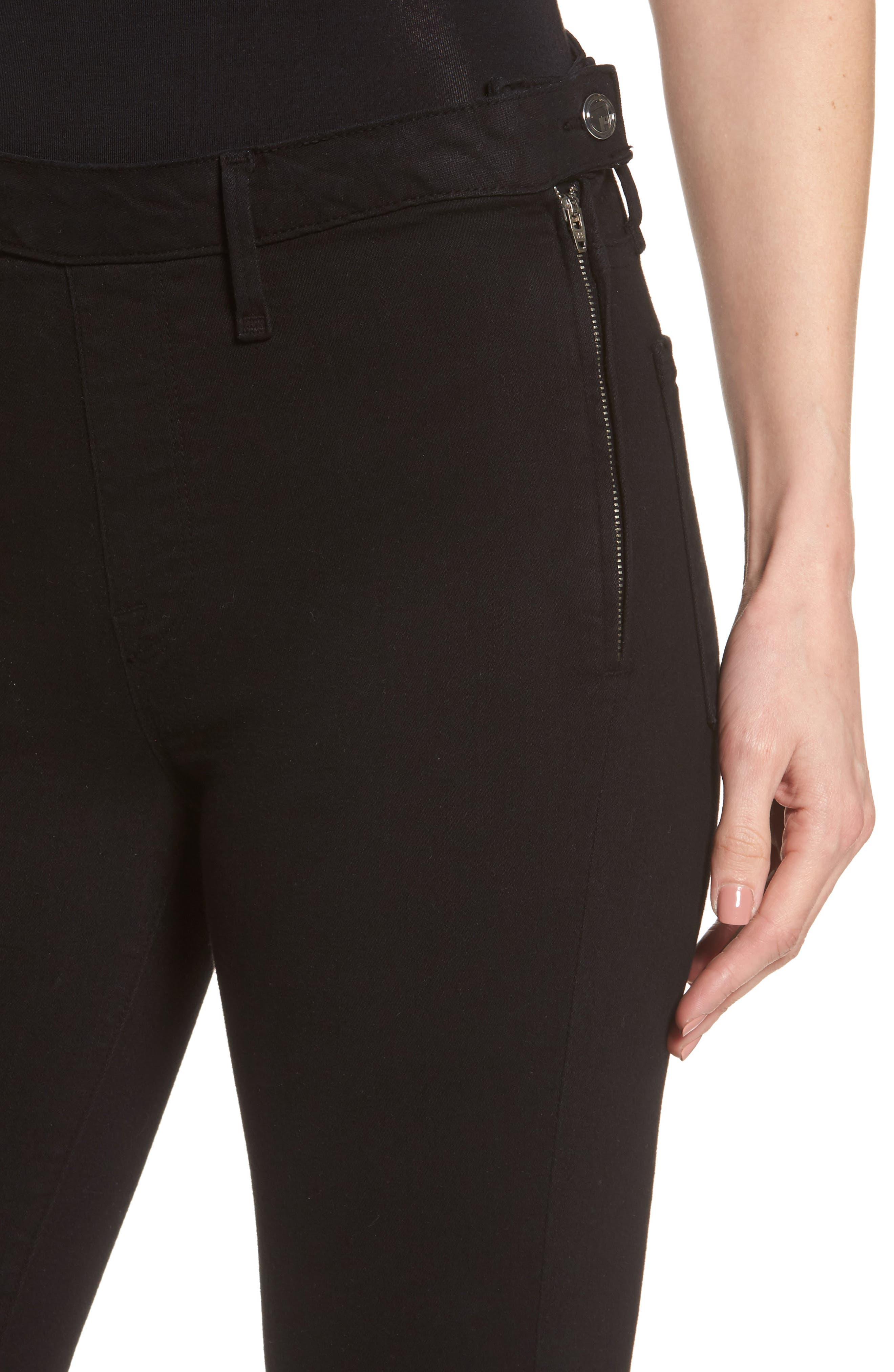 High Waist Side Zip Skinny Jeans,                             Alternate thumbnail 4, color,                             Black001