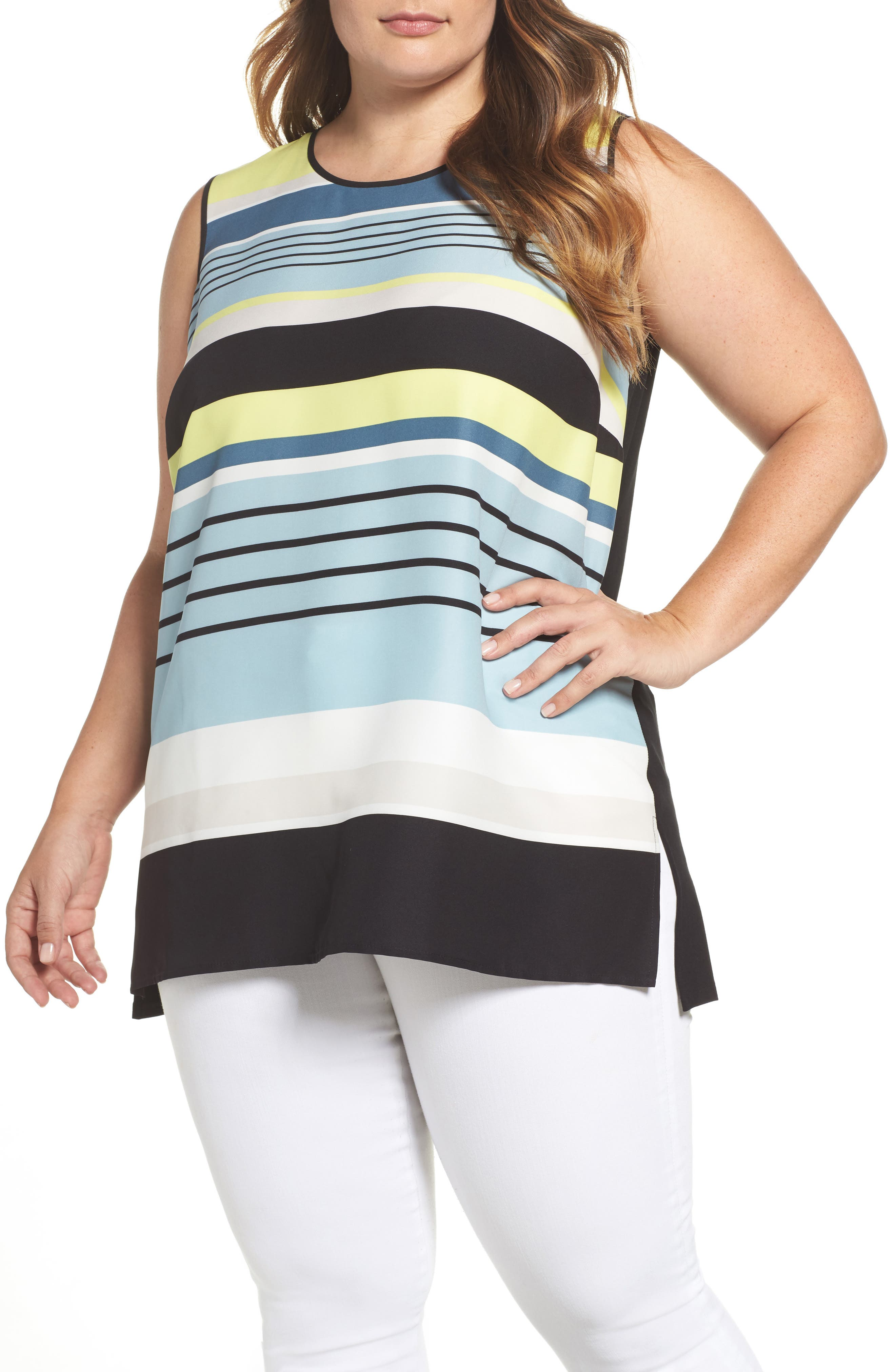 Vince Camuto Harmony Stripe Top (Plus Size)