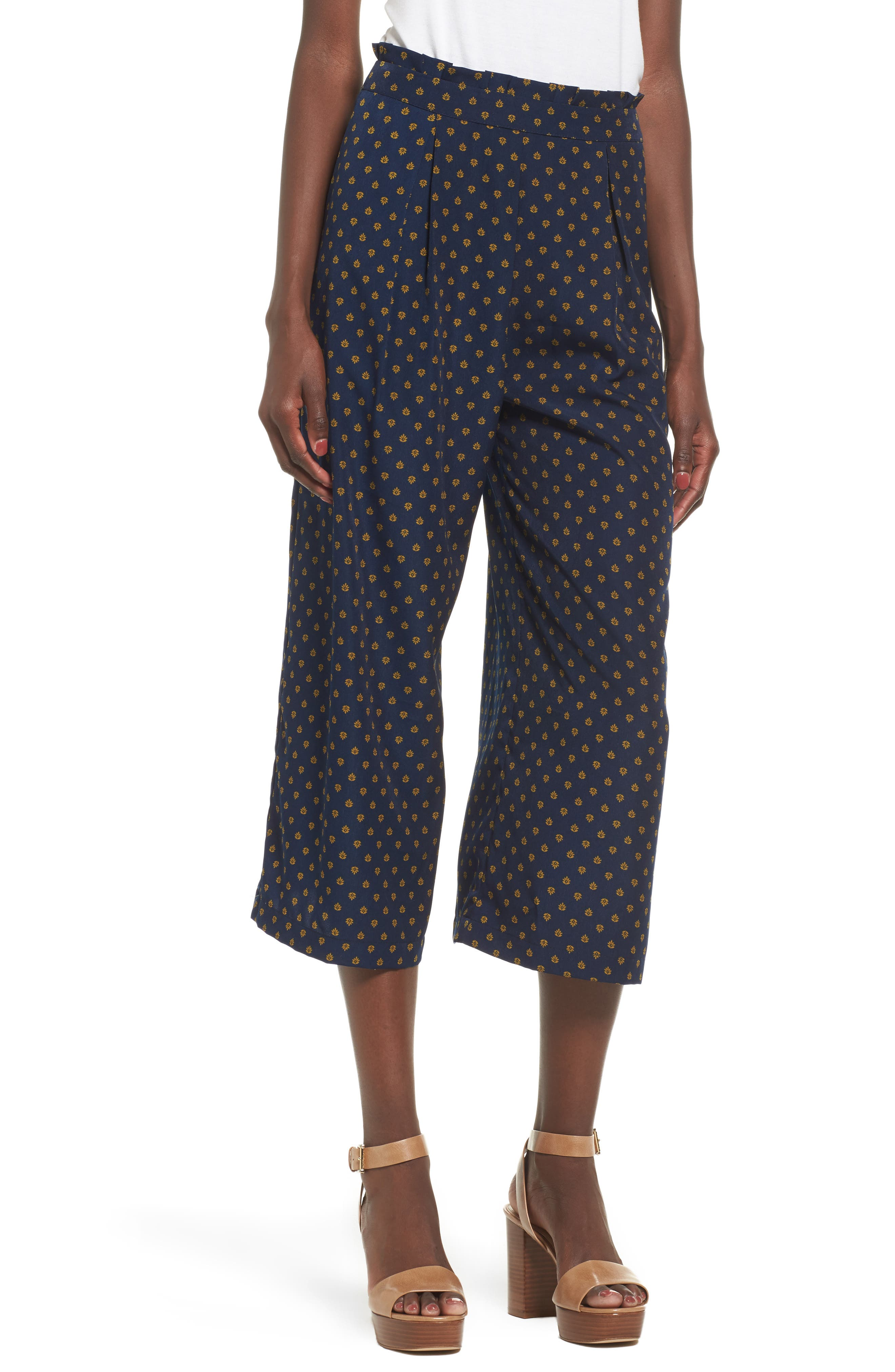 Wide Leg Culottes,                         Main,                         color, Navy/ Yellow