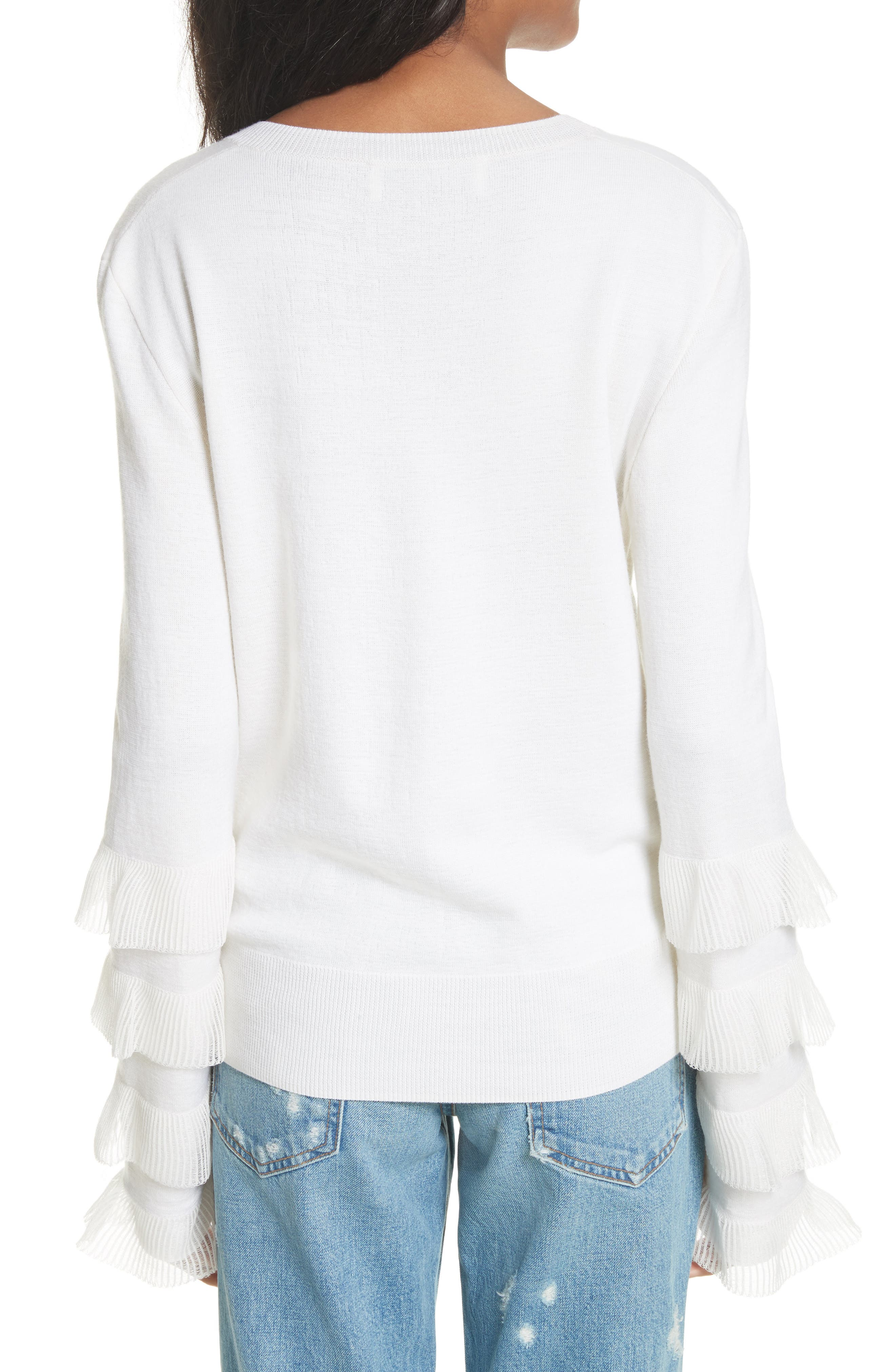 Tiered Ruffle Sleeve Sweater,                             Alternate thumbnail 2, color,                             White