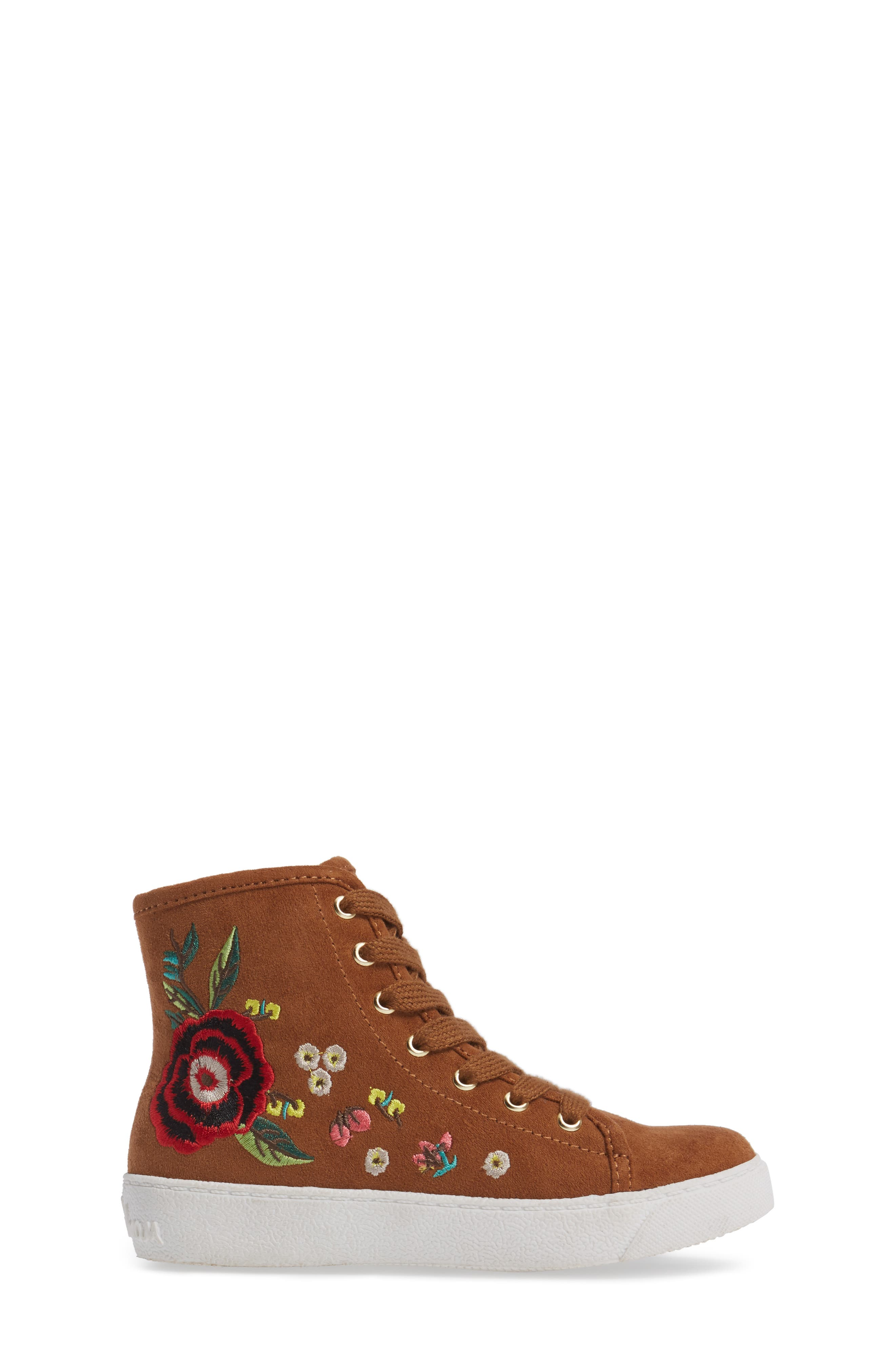 Harriet Embroidered High Top Sneaker,                             Alternate thumbnail 3, color,                             Saddle Faux Leather