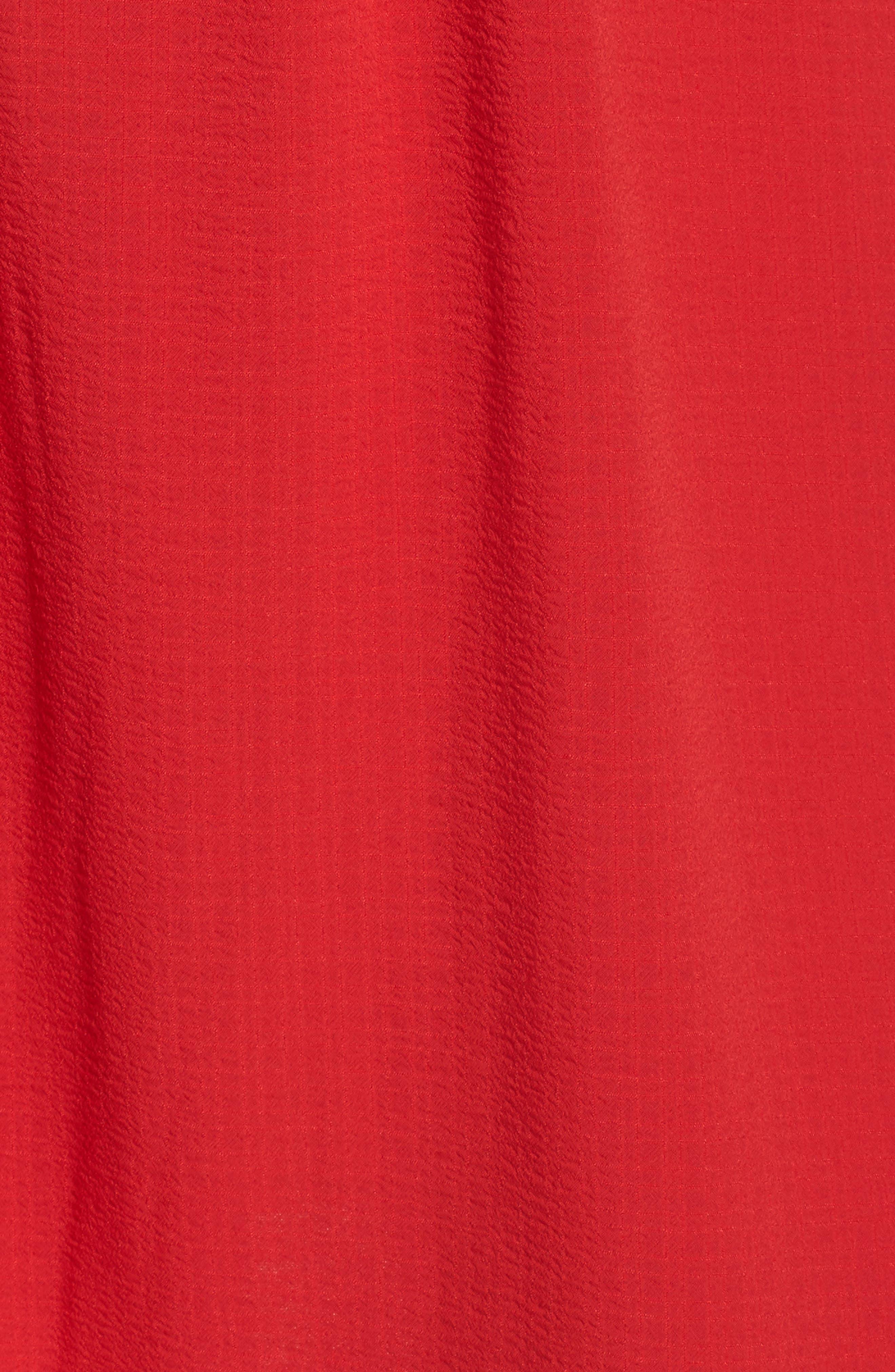 Ruffle Cold Shoulder Dress,                             Alternate thumbnail 5, color,                             Tomato