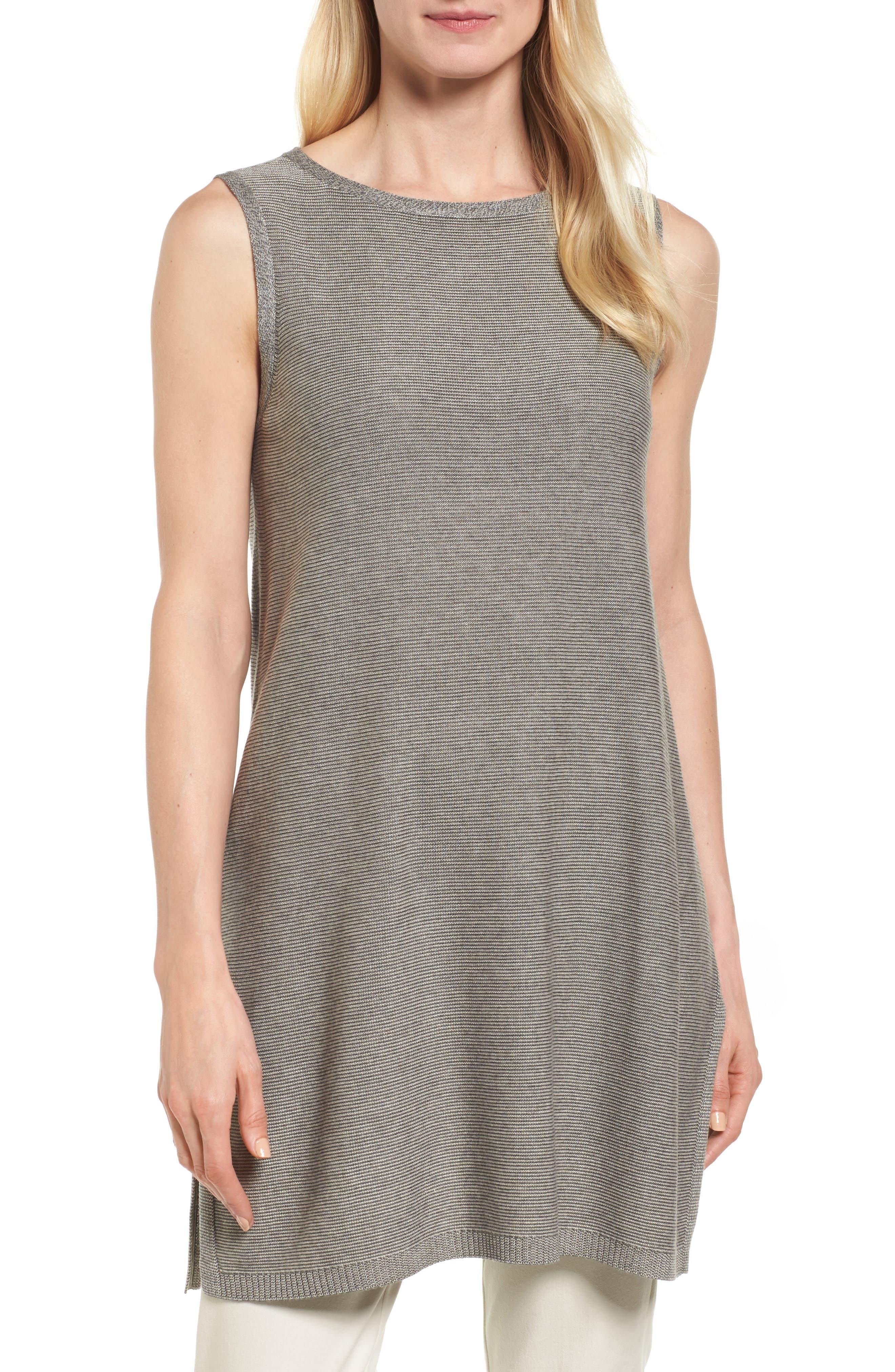 Alternate Image 1 Selected - Eileen Fisher Tencel® & Merino Wool Tunic (Regular & Petite)