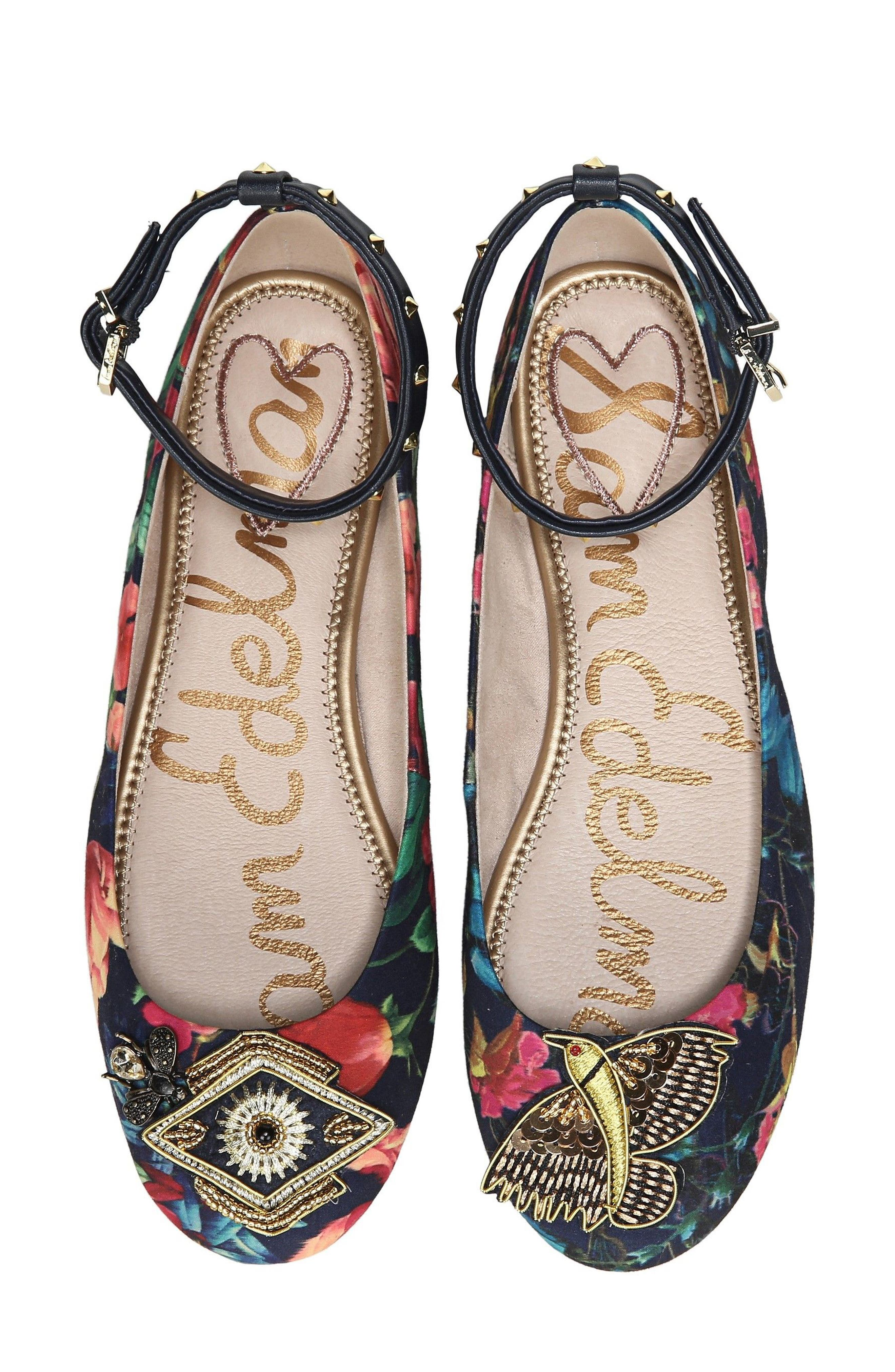 Sam Edelman Ferrera Embellished Ankle Strap Flat (Women)