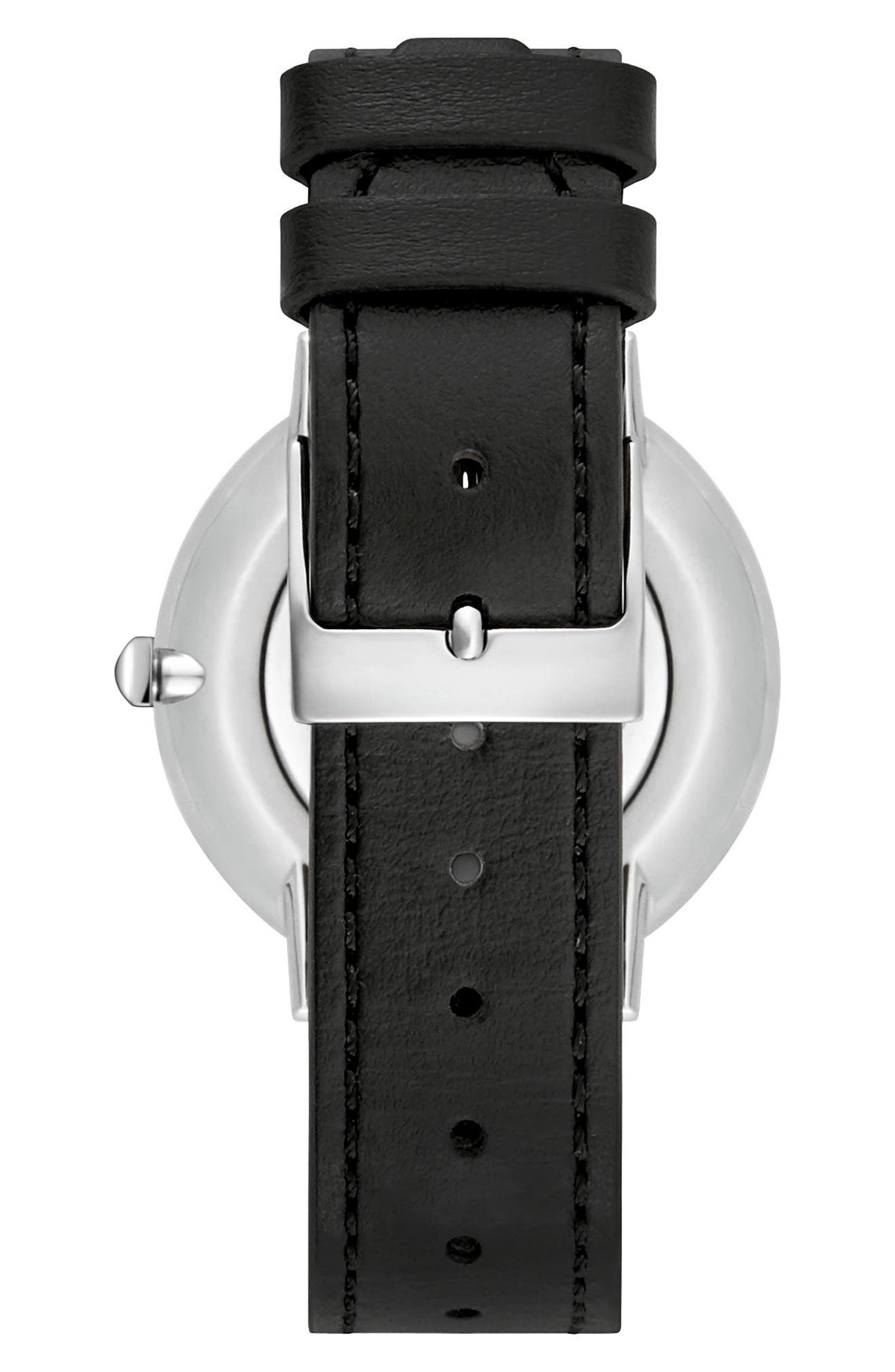 Major Stud Leather Strap Watch, 35mm,                             Alternate thumbnail 2, color,                             Black/ Silver