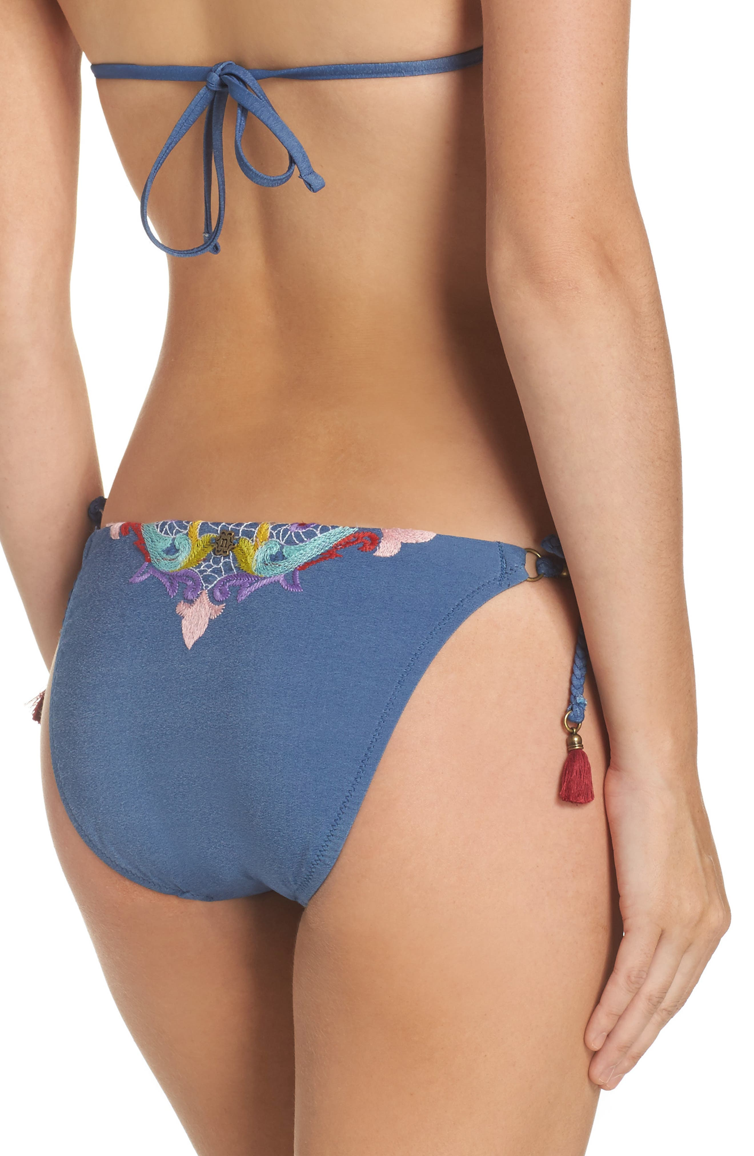 Dazed Denim Vamp Side Tie Bikini Bottoms,                             Alternate thumbnail 2, color,                             Blue Multi