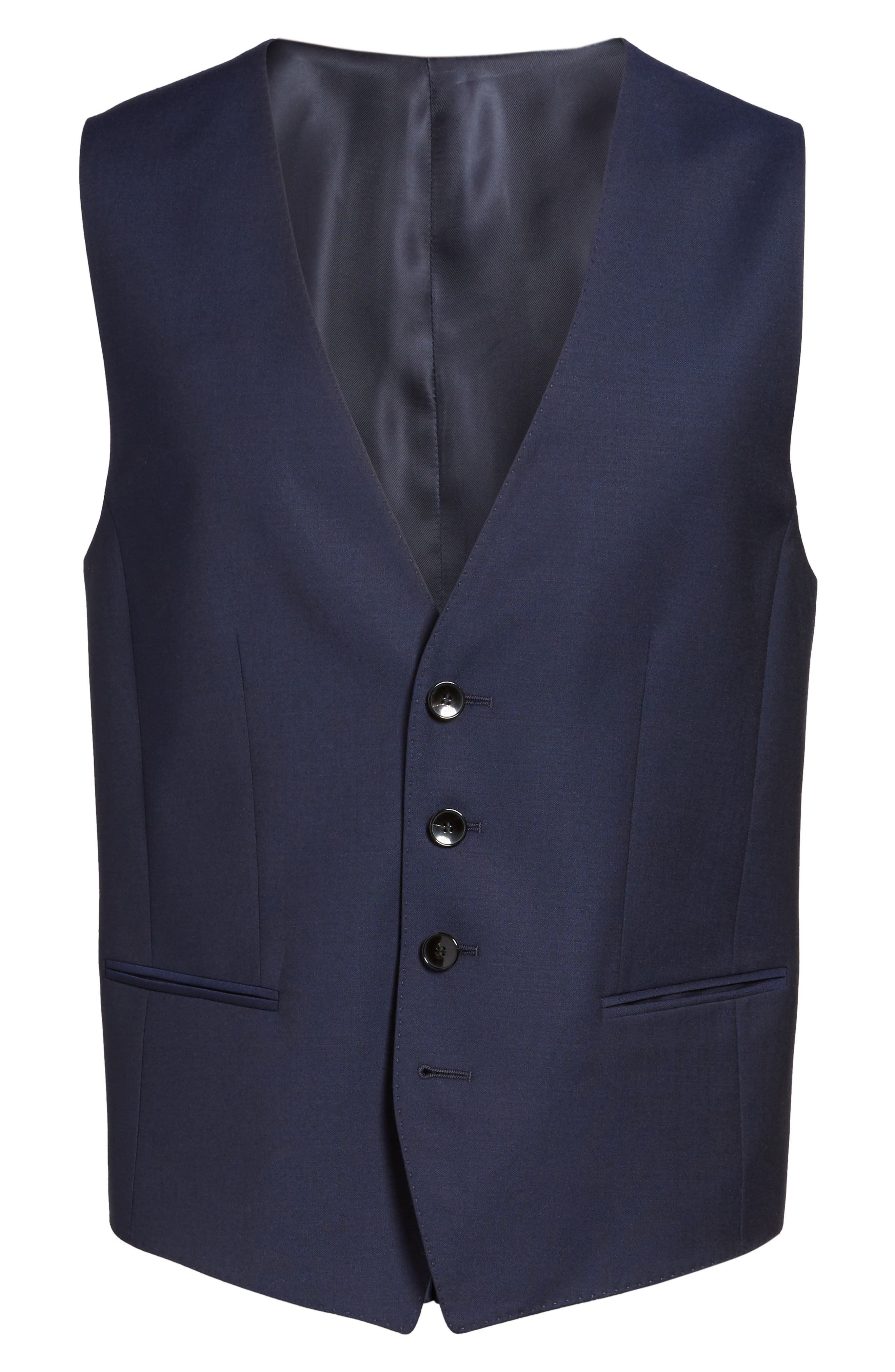 Trim Fit Solid Wool Vest,                             Alternate thumbnail 6, color,                             Navy