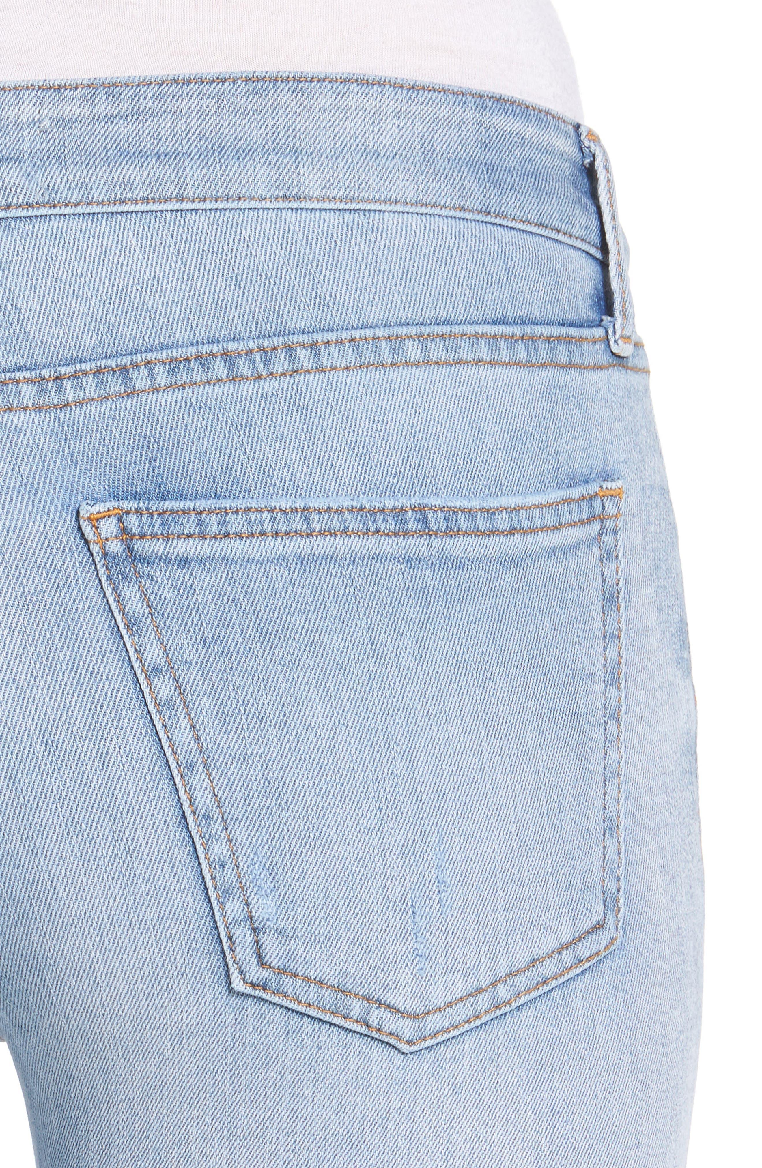 Frayed Hem Ankle Skinny Jeans,                             Alternate thumbnail 5, color,                             Denim Blue
