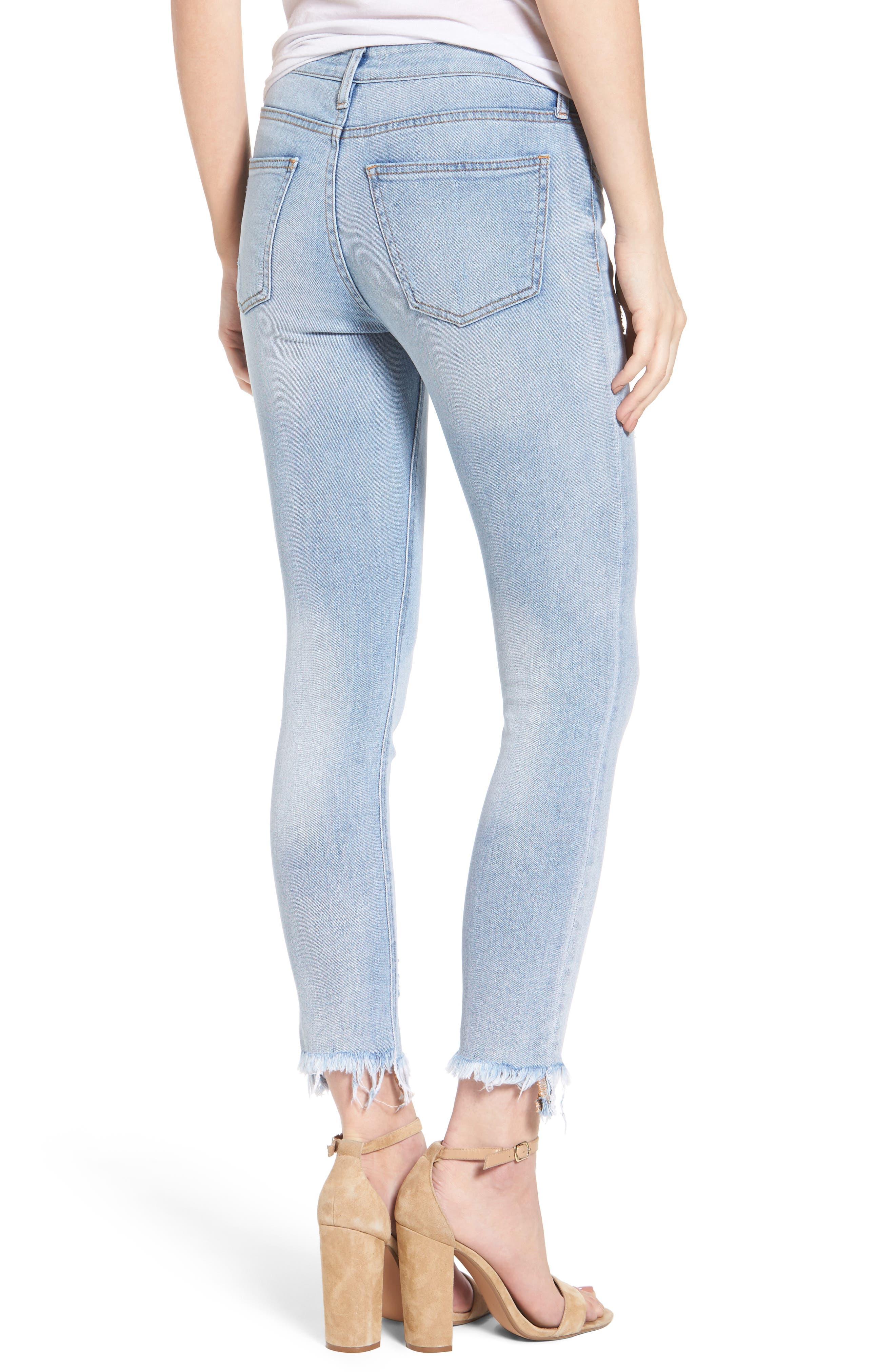 Frayed Hem Ankle Skinny Jeans,                             Alternate thumbnail 3, color,                             Denim Blue