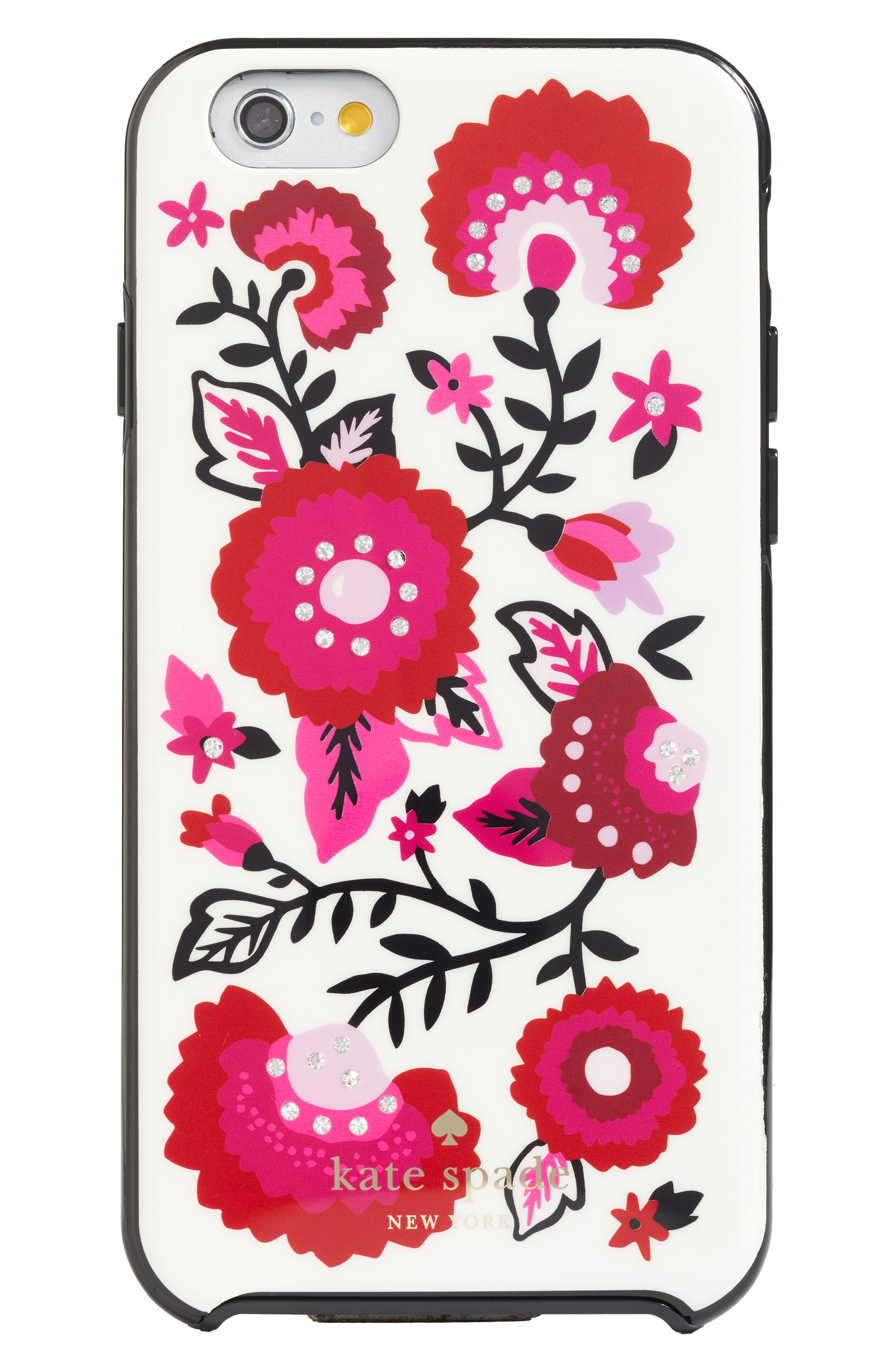 jeweled garland iPhone 7/8 & 7/8 Plus case,                             Main thumbnail 1, color,                             Cream Multi