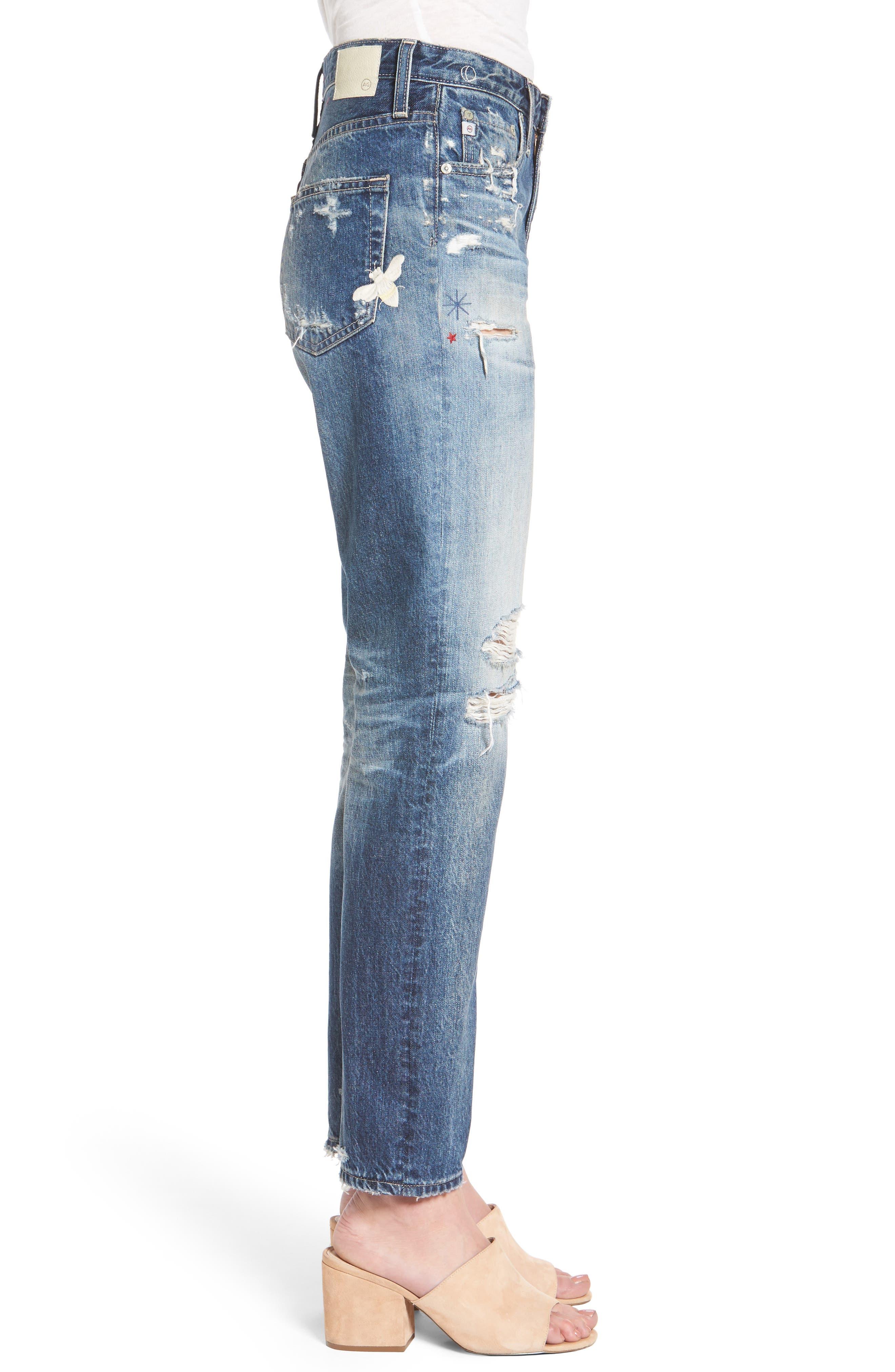 The Phoebe High Waist Straight Leg Jeans,                             Alternate thumbnail 3, color,                             23 Years Woven Dream