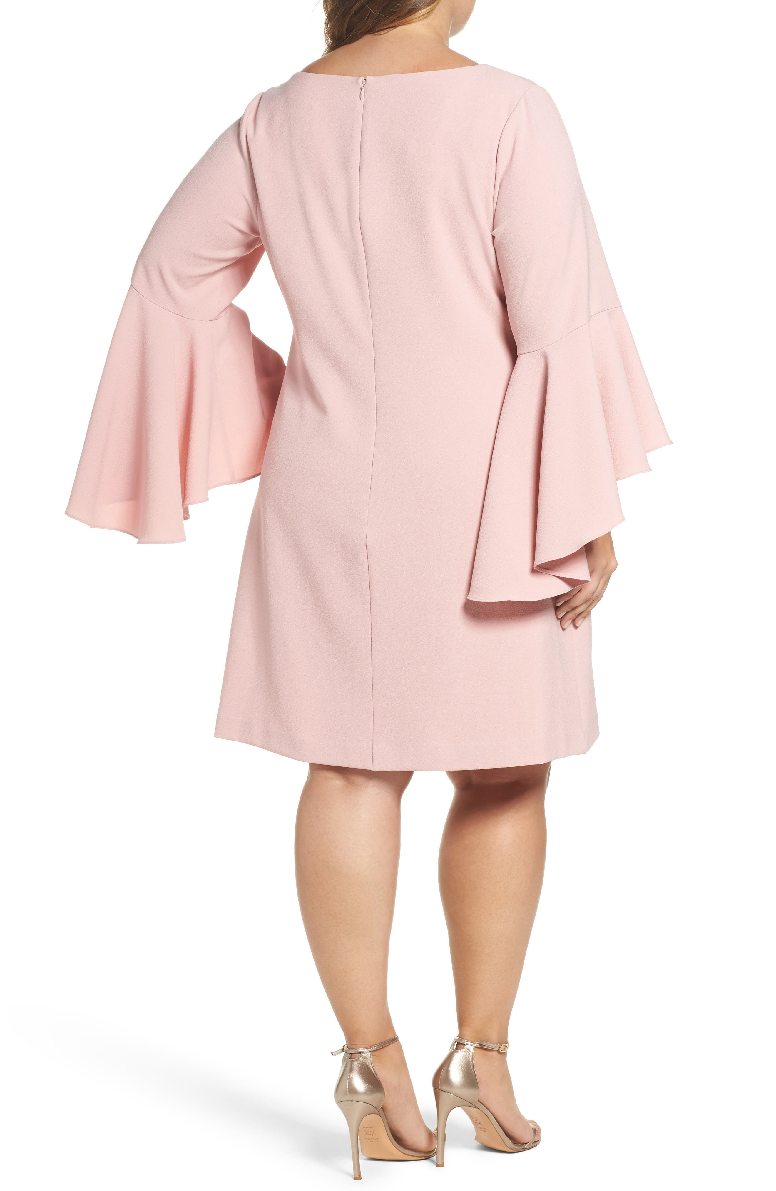 Bell Sleeve Crepe Shift Dress,                             Alternate thumbnail 2, color,                             Blush
